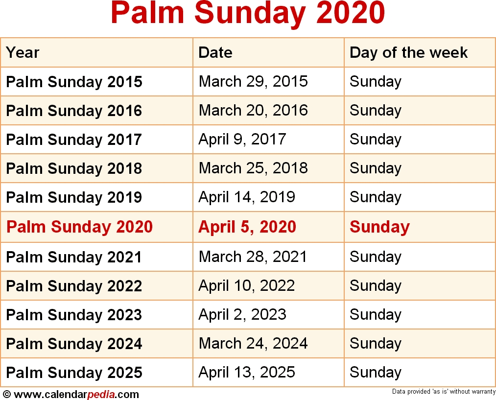 When Is Palm Sunday 2020 & 2021? Dates Of Palm Sunday  Methodis Tv Church September 2020 Lectionary Calendar