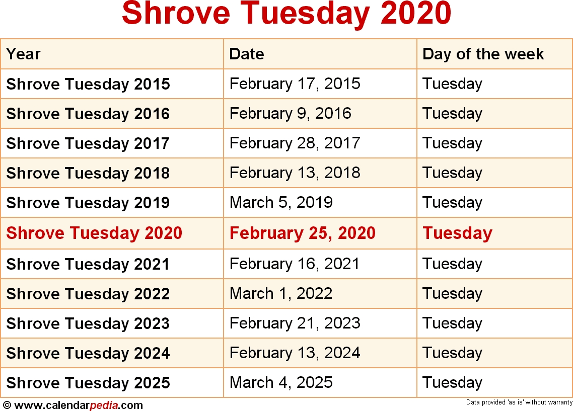 When Is Shrove Tuesday 2020 & 2021? Dates Of Shrove Tuesday  2020-2020 Lectionary Calendar United Methodist