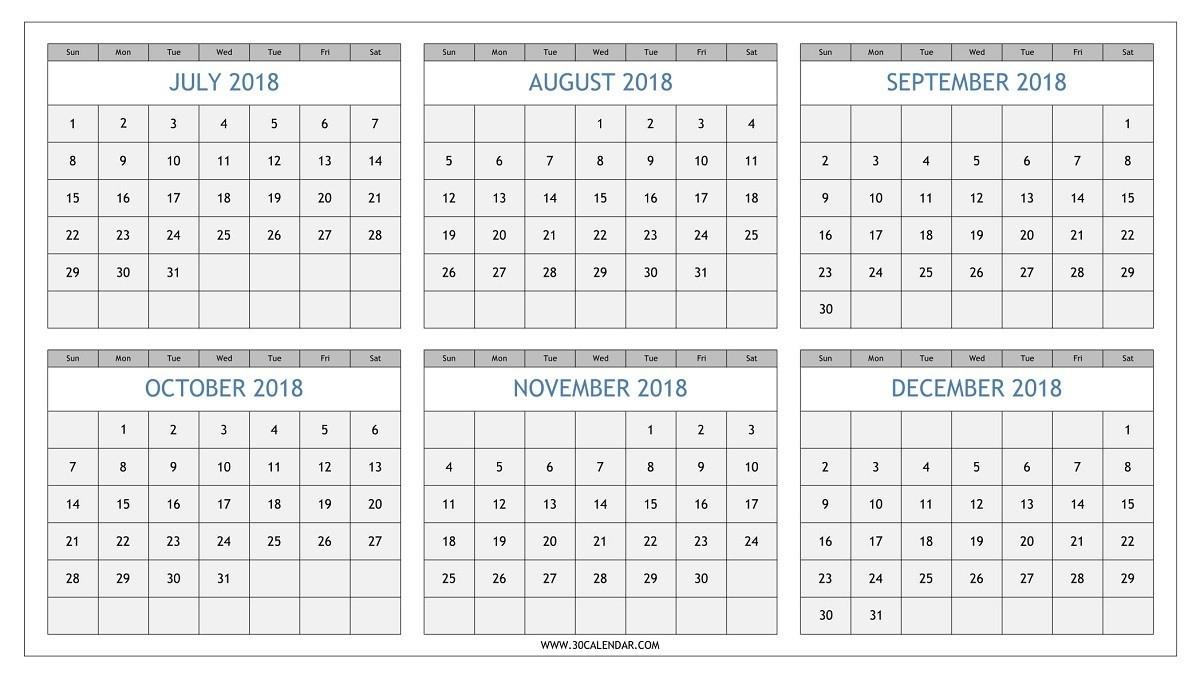Year Calendar July- December 2019 | Calendar Template  August - December