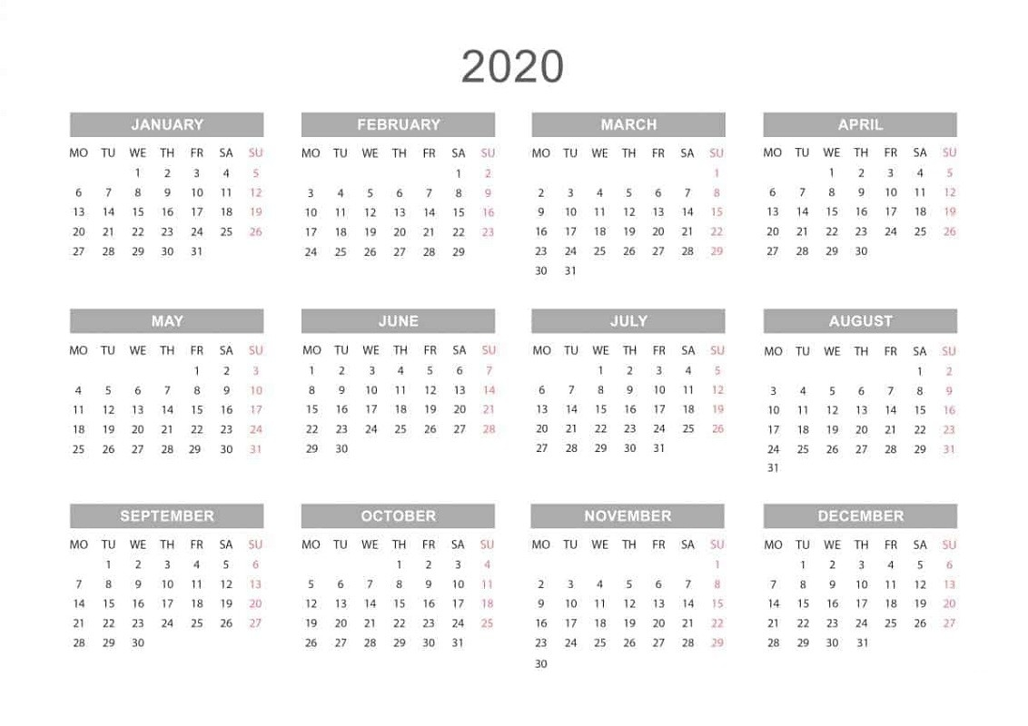 Yearly Calendar 2020 Printable Free For Agenda | Calendar  Printable Full Page Calendar 2020
