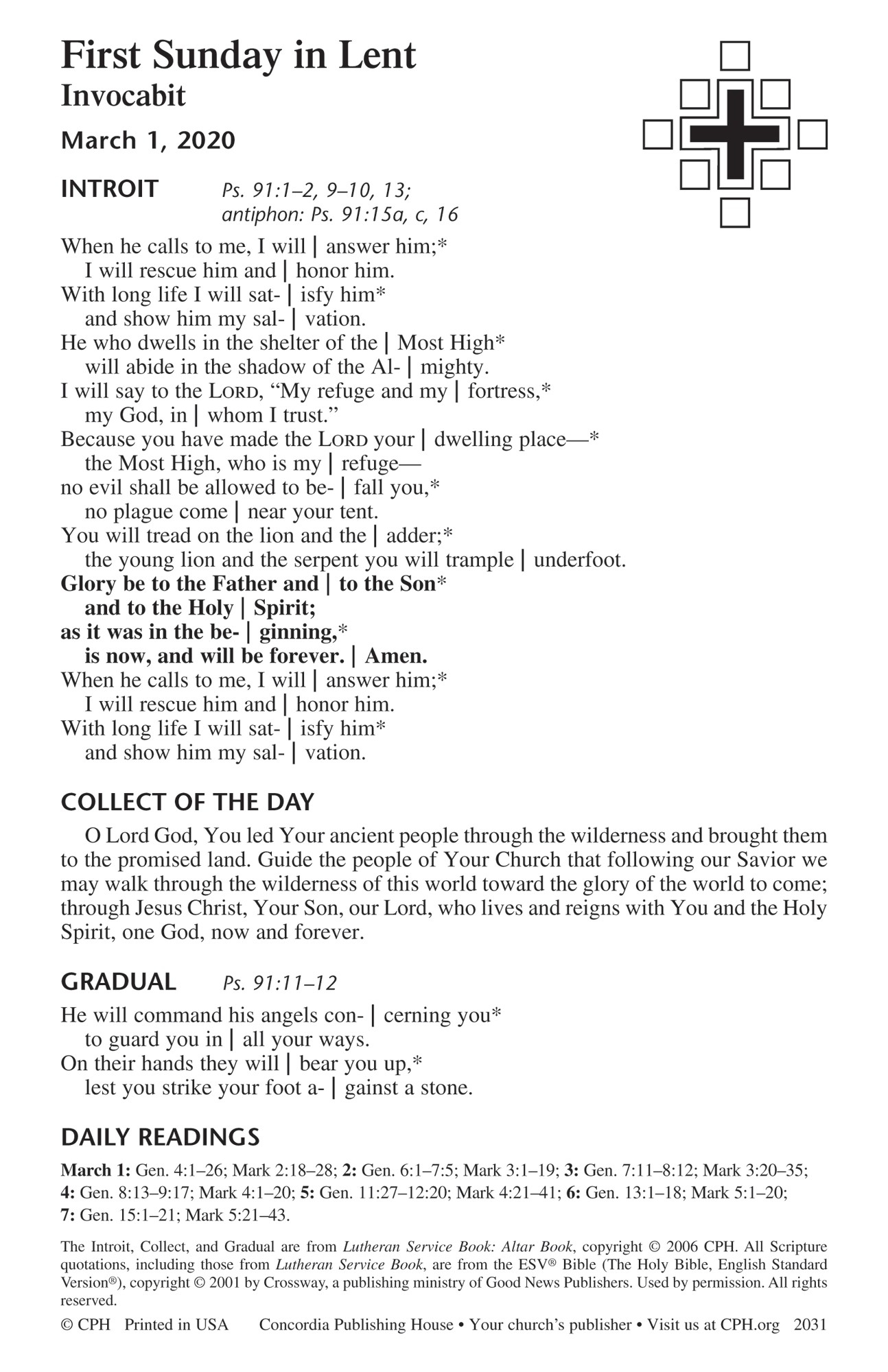 1-Year Lectionary Propers – Quarter 2 Bulletin Insert  Revised Common Lectionary 2020 Sunday And Special Day Only Year A Calendar