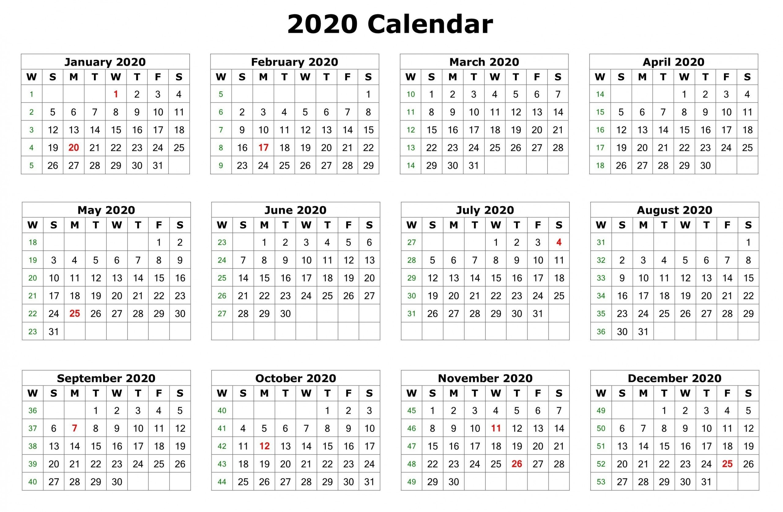 12 Month Calendar 2020 Printable With Holidays | Monthly  12 Month Calendar Free Printable