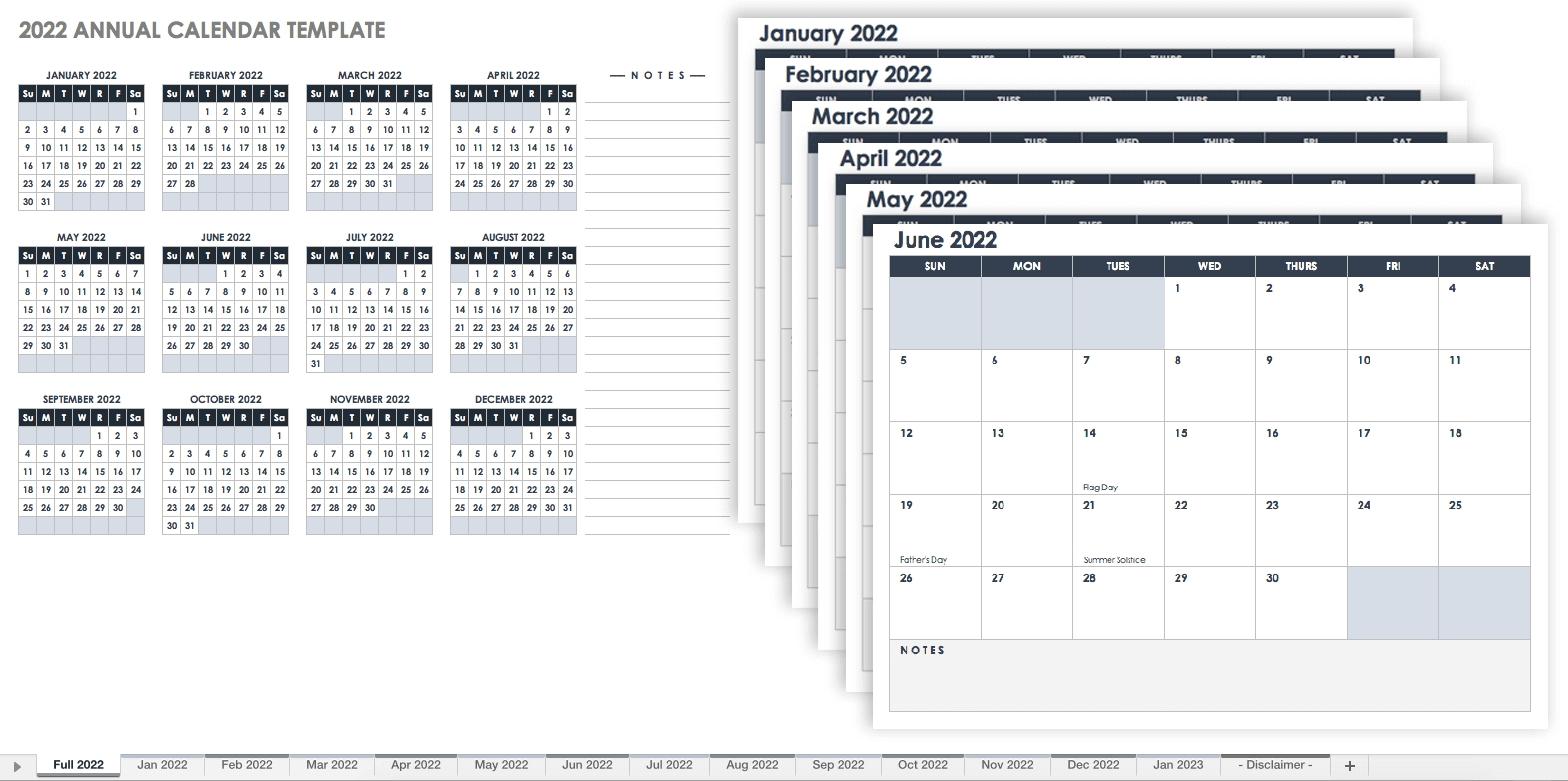 15 Free Monthly Calendar Templates | Smartsheet  12 Month Calendar Free Printable