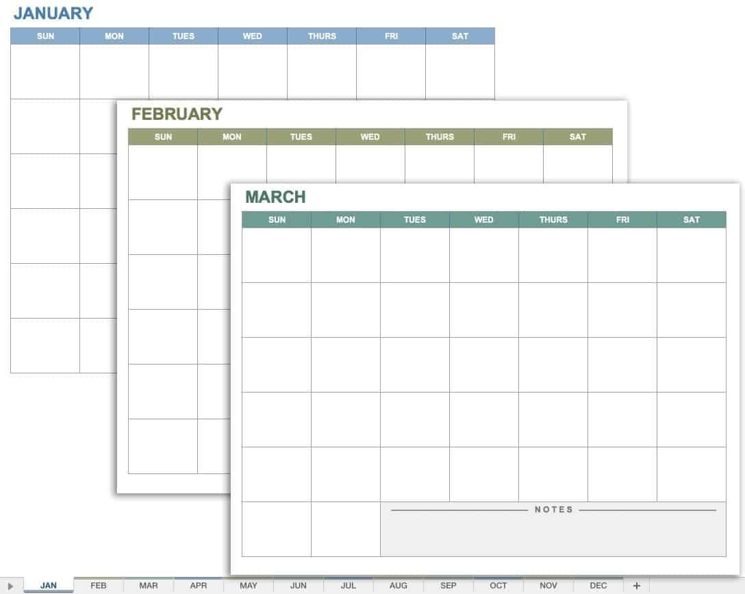 15 Free Monthly Calendar Templates | Smartsheet  Free Monthly Spreadsheet Templates