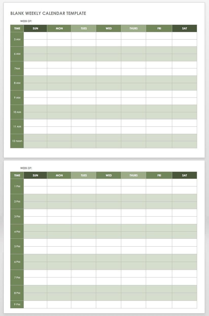 15 Free Weekly Calendar Templates | Smartsheet  Blank Weekly Calendar