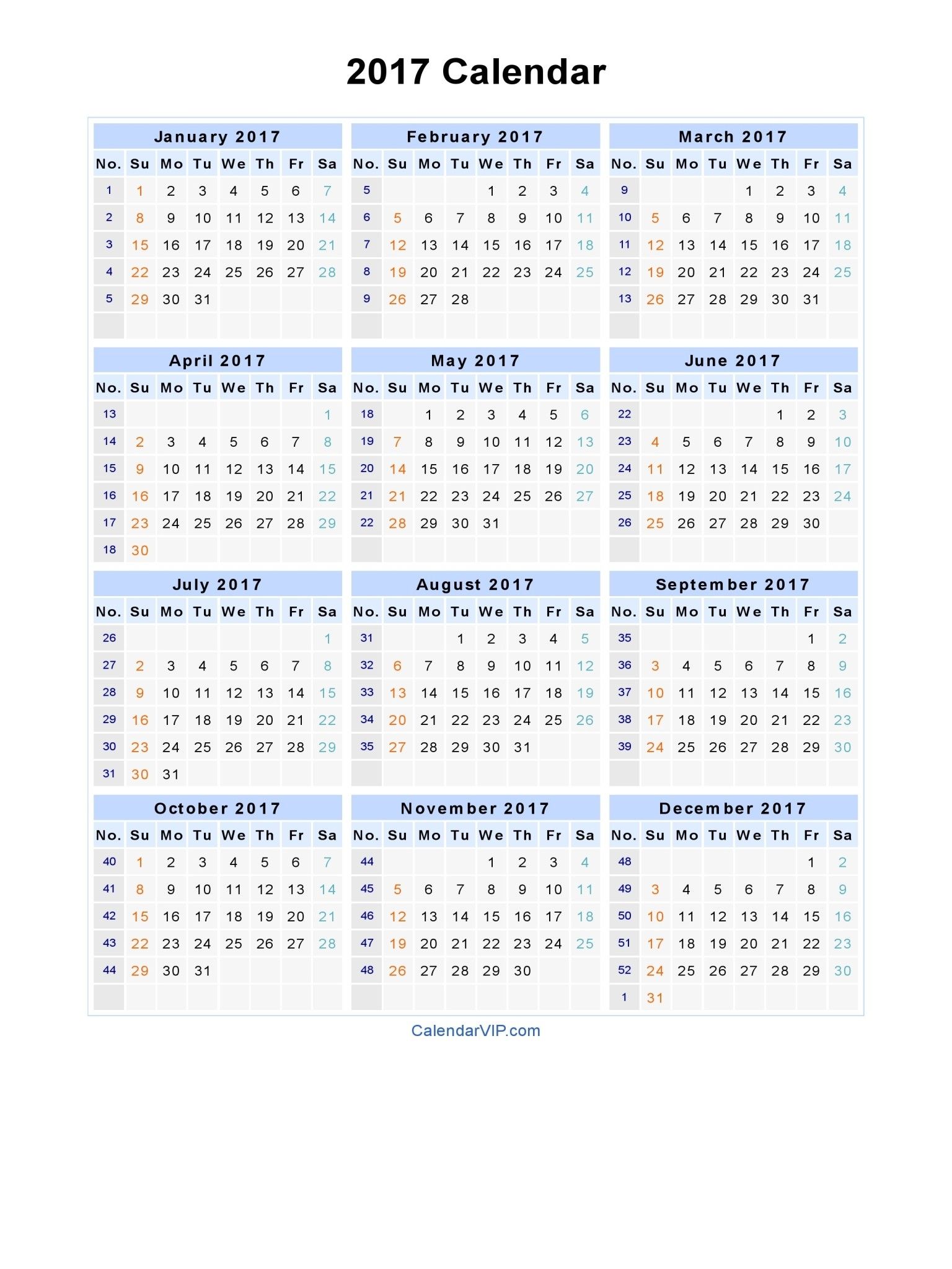 2017 Calendar - Blank Printable Calendar Template In Pdf  Printable Calendar 2017 Word