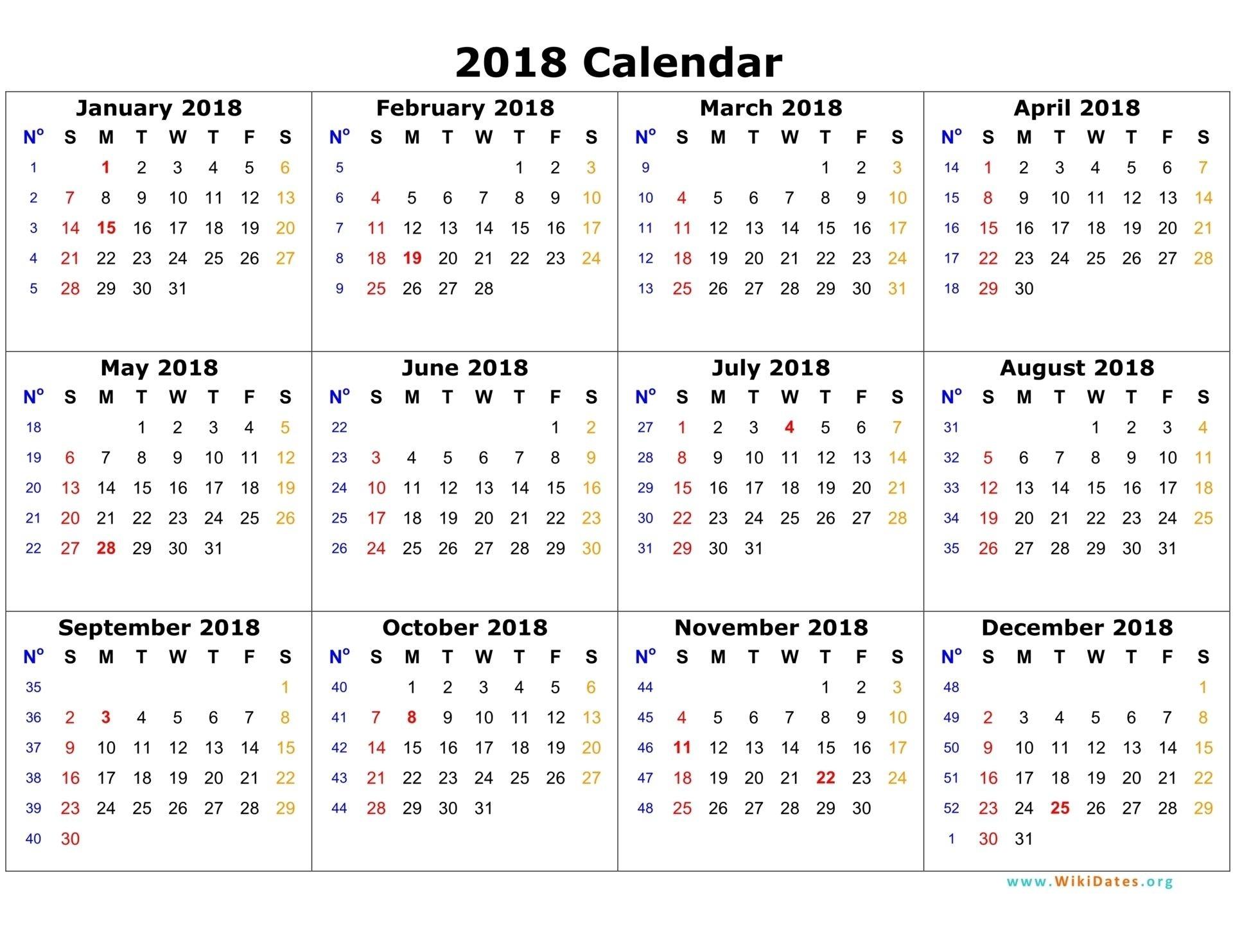 2018 Calendar  Printable Calendar 2017 Word