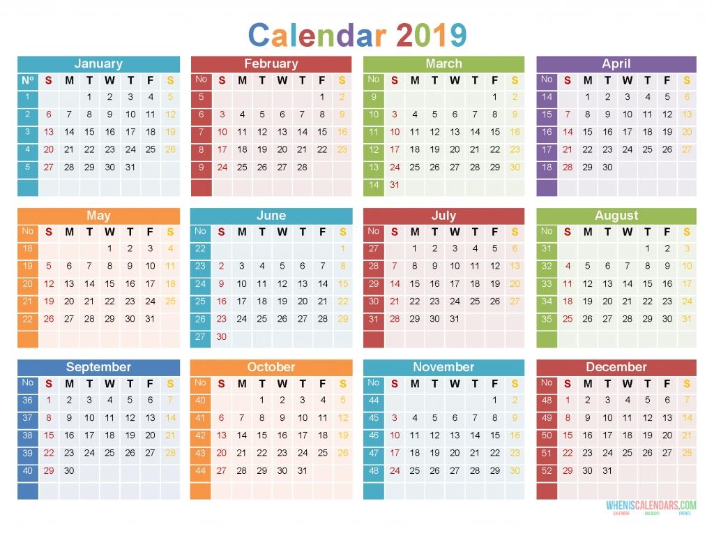 2019 12 Month Calendar Template Large Print Calendar Pdf  12 Month Calendar Free Printable