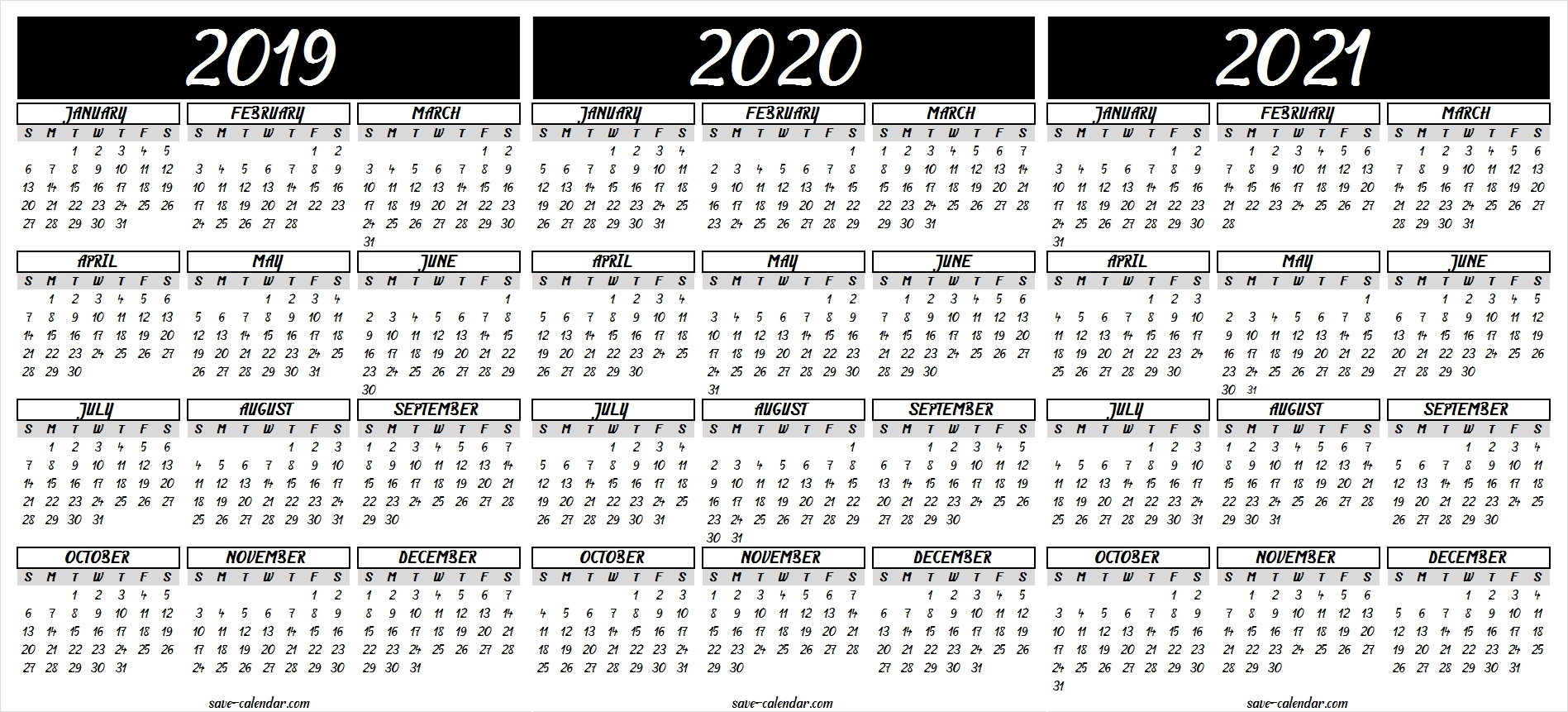 2019 2020 2021 Calendar Printable Template (With Images  Printable 12 Month 2020 2021 Calendar