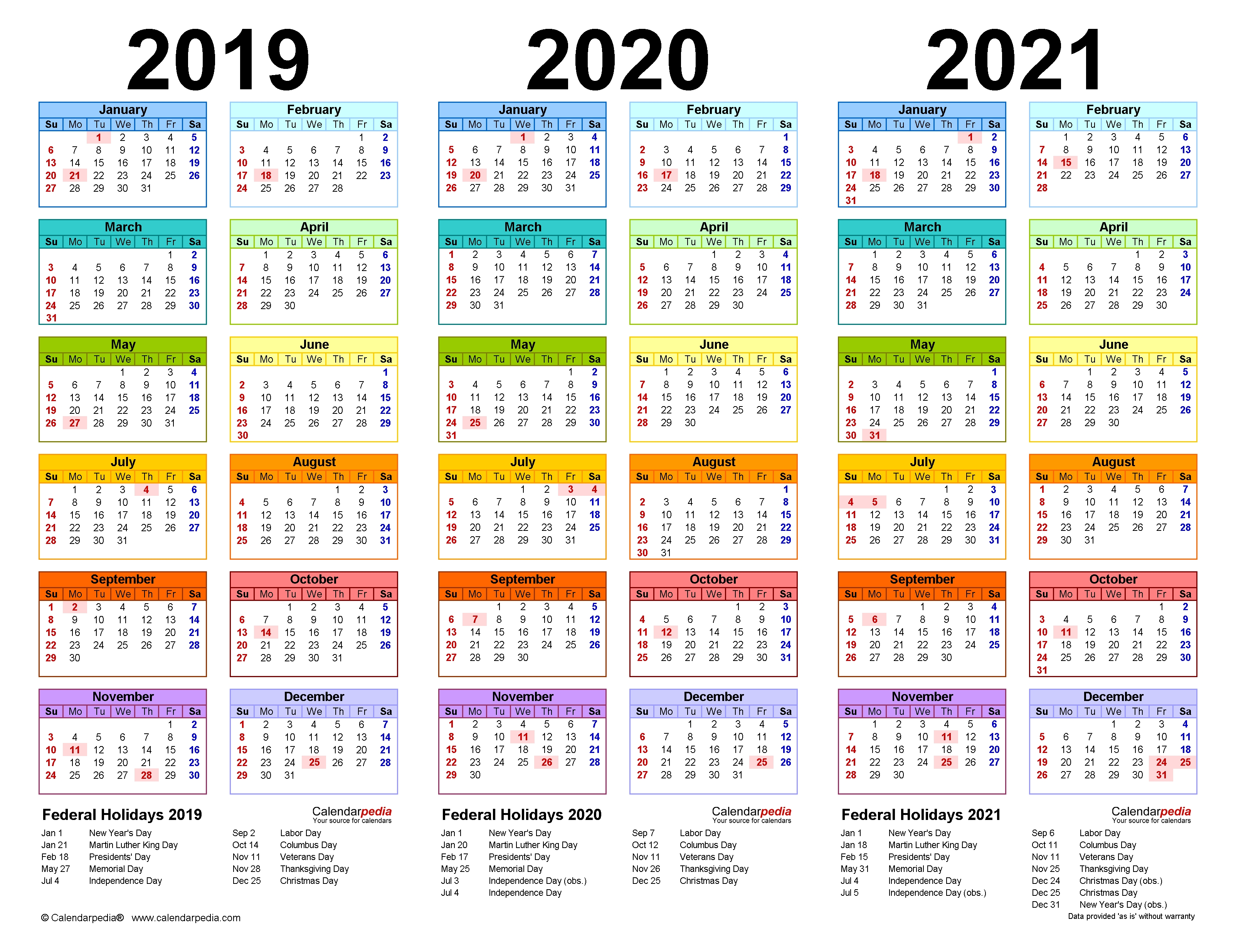 2019-2021 Three Year Calendar - Free Printable Pdf Templates  Free Printable Yearly Calendar 2021 2020