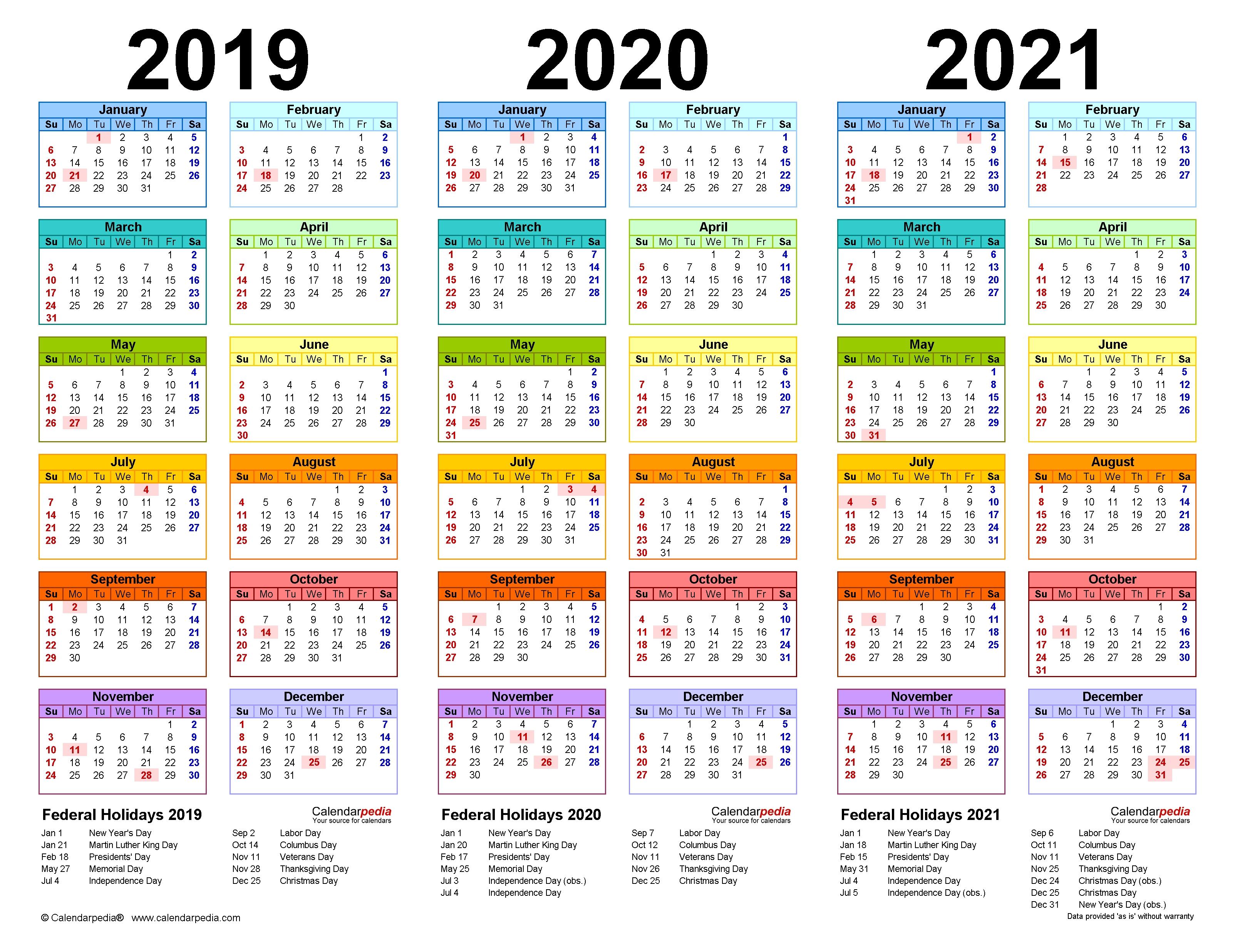 2019-2021 Three Year Calendar - Free Printable Pdf Templates  Printable 12 Month 2020 2021 Calendar