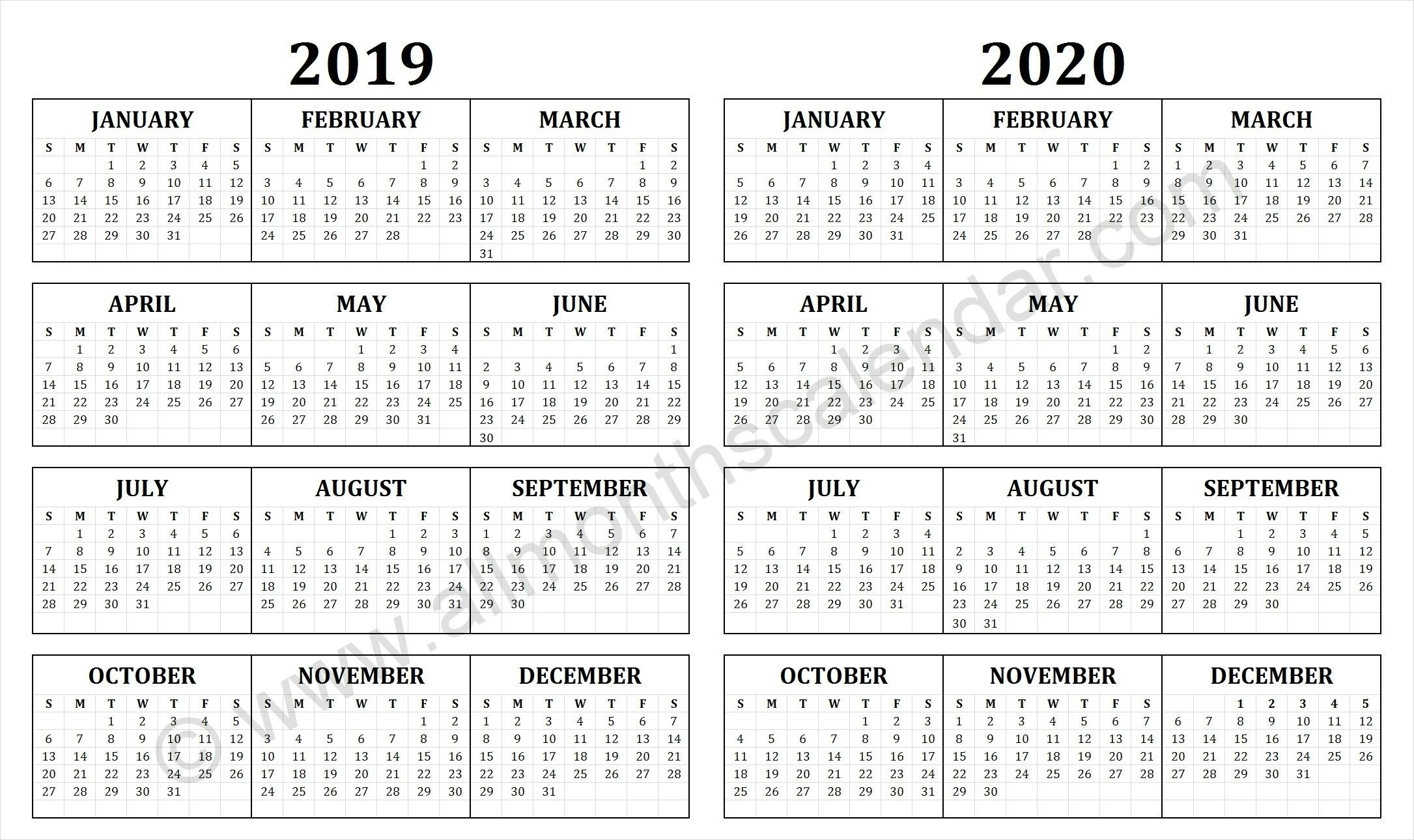2019 And 2020 Calendar Free Printable | Календарь, Дневник  Calenadrio Juliano 2020