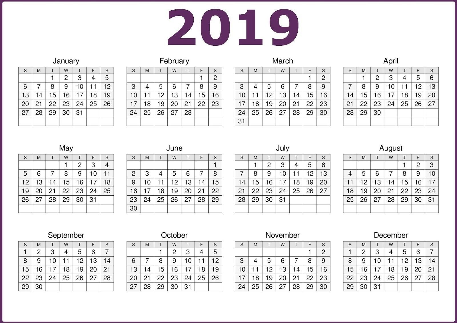 2019 Business Calendar Template With Holidays (With Images  3 Month On One Page