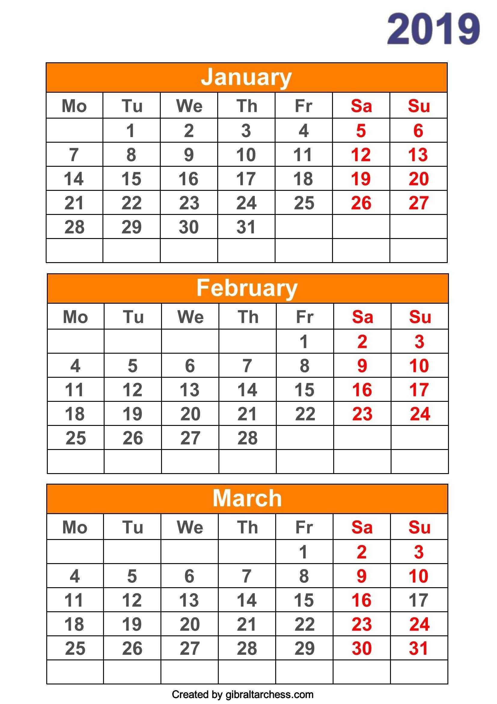 2019 Calendar 4 Months Per Page Printable  Blank Calendar 4 Months