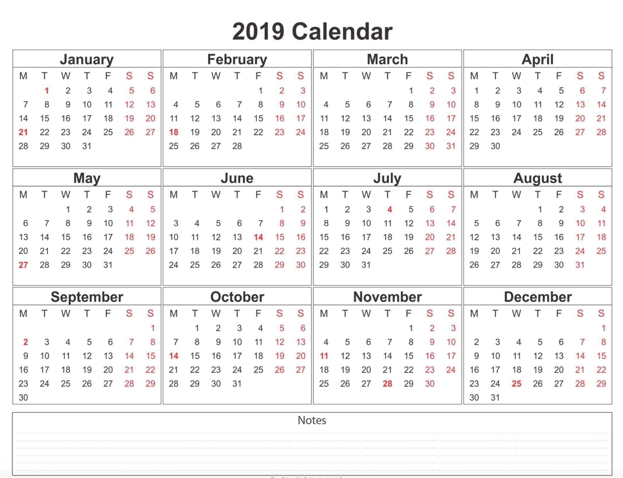 2019 Calendar Printable Free A4 Template | Weekly Calendar  12 Month Calendar Free Printable