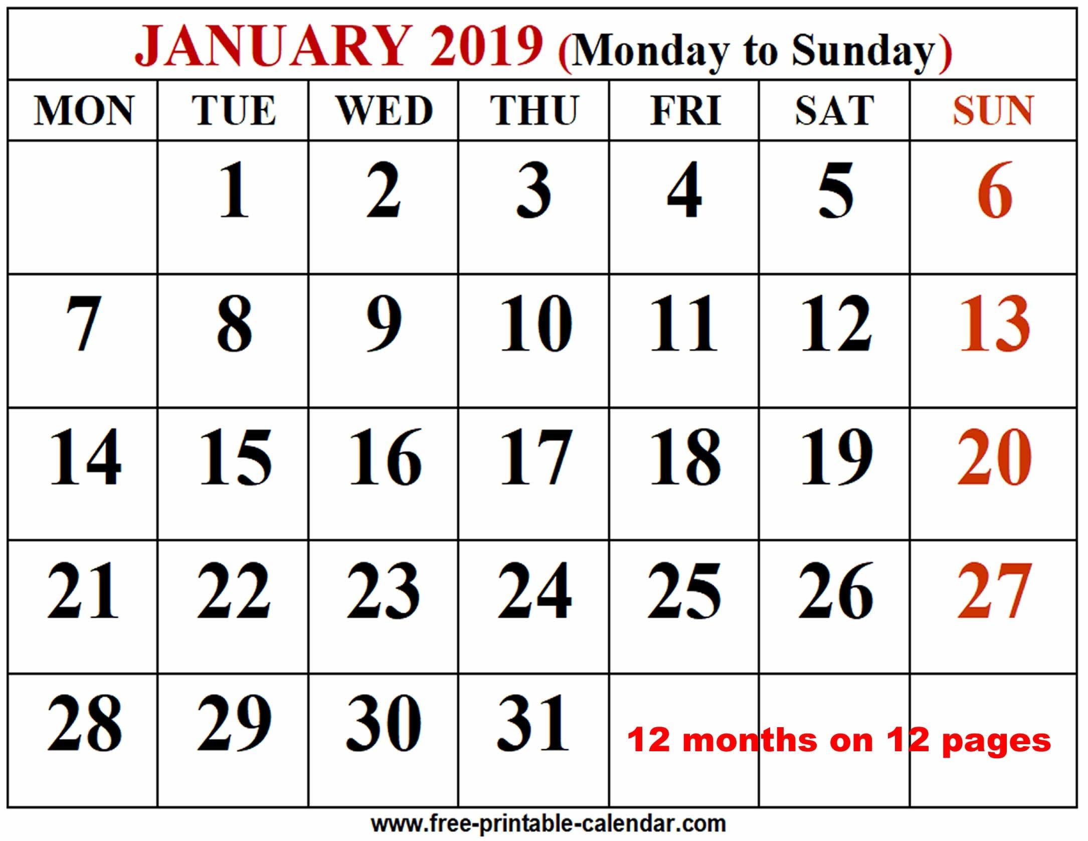 2019 Calendar Template - Free-Printable-Calendar  3 Month Calendar Free Print
