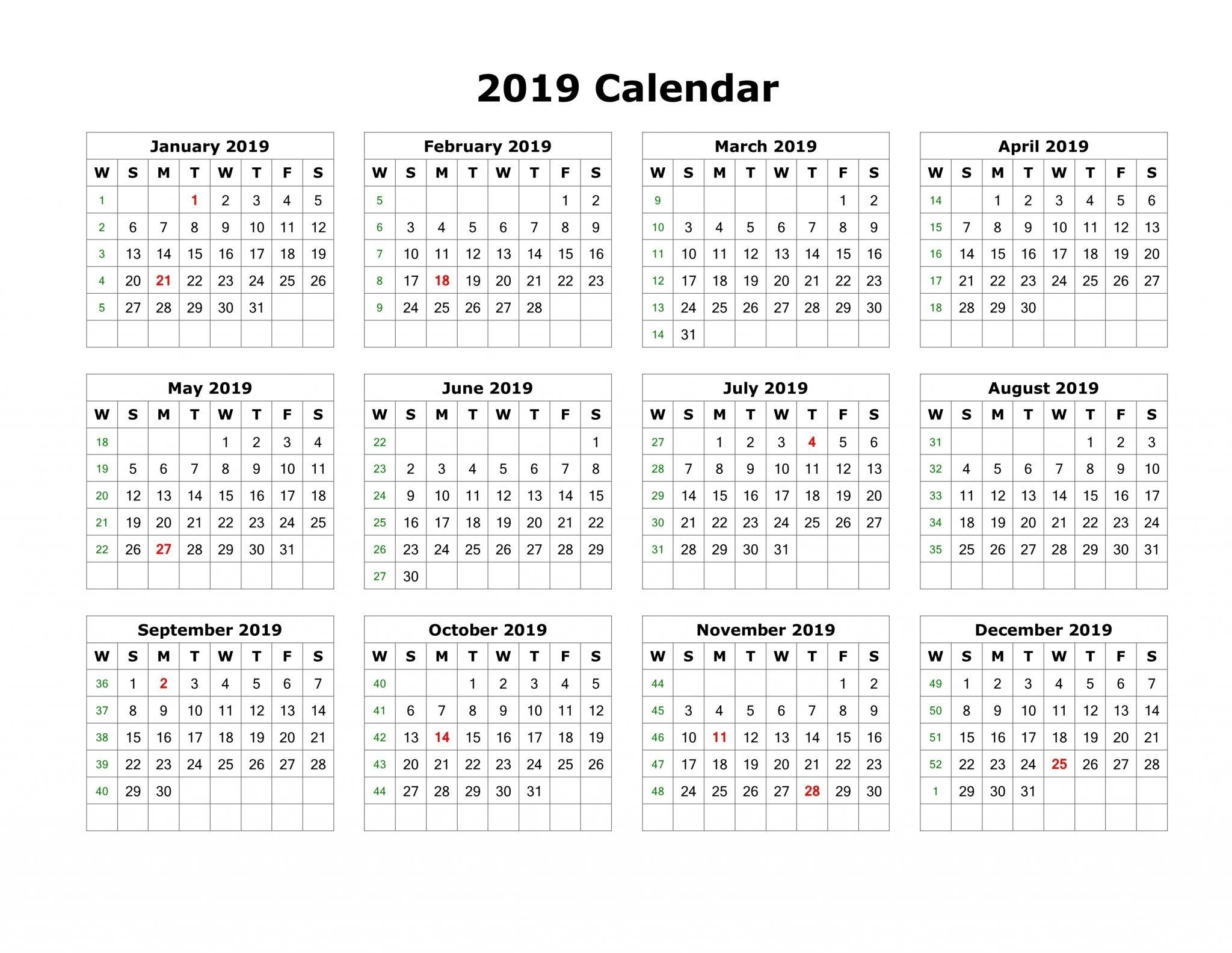 2019 Calendar Template Pdf Word Excel Free Download  Printable Calendar 2017 Word