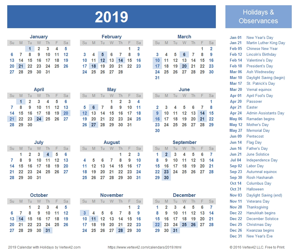 2019 Calendar Templates And Images  Free Printable Monthly Calendar That Can Be Edited