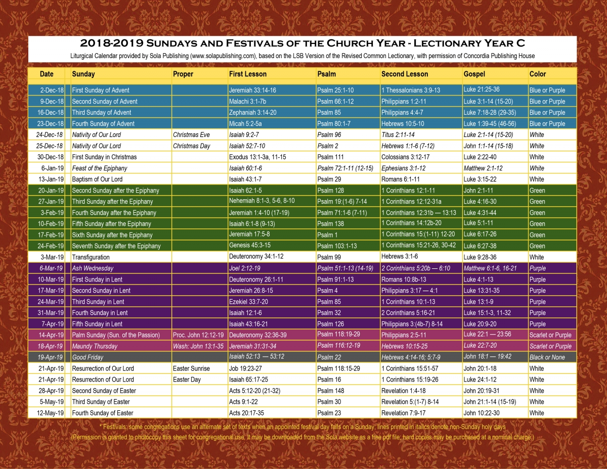 2019 Liturgical Calendar (Year C) K-2019 | Sola Publishing  Revised Common Lectionary 2020 Printable