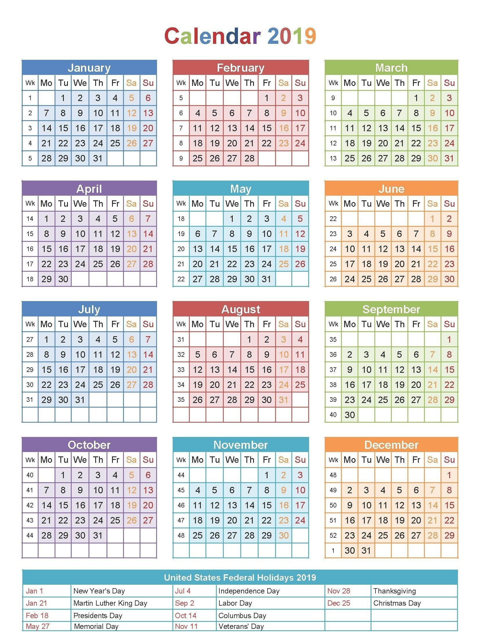 2019 Pay Period Calendar With Holidays | Payroll Calendars 2020  Usps Payday Calendar
