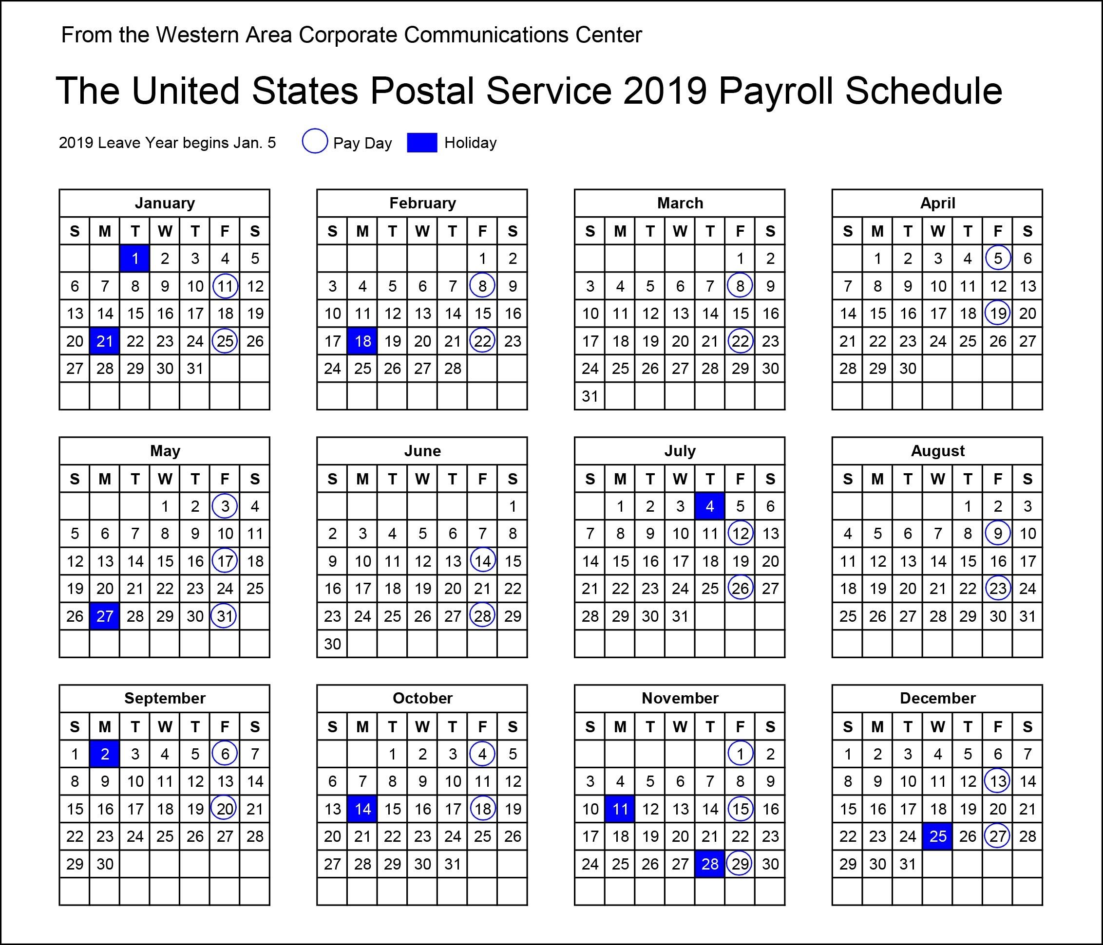 2019 Postal Payroll Calendar | Your Postal Blog  Usps Payday Calendar