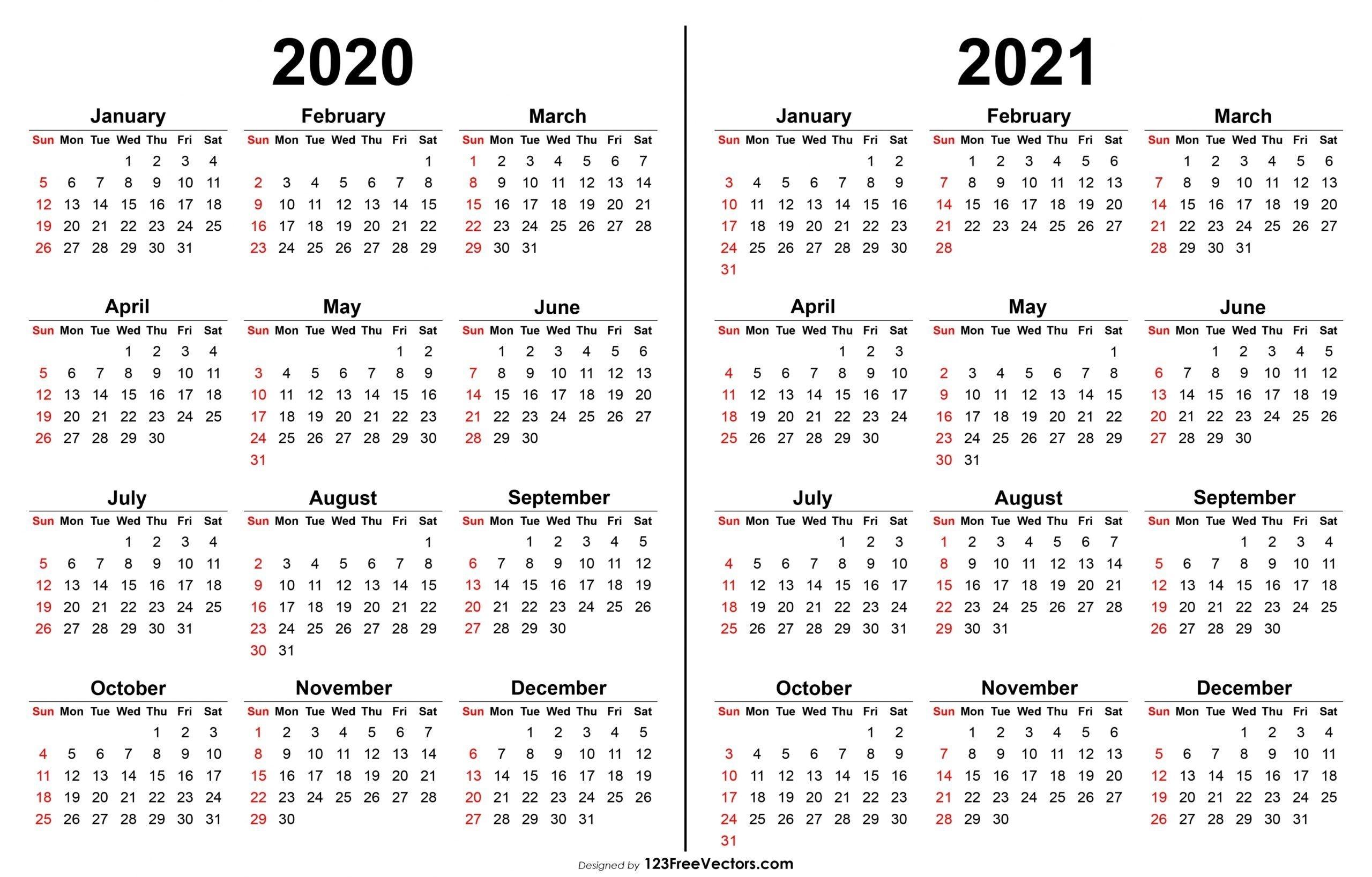 2020 2021 Printable Calendar Di 2020  Printable 12 Month 2020 2021 Calendar