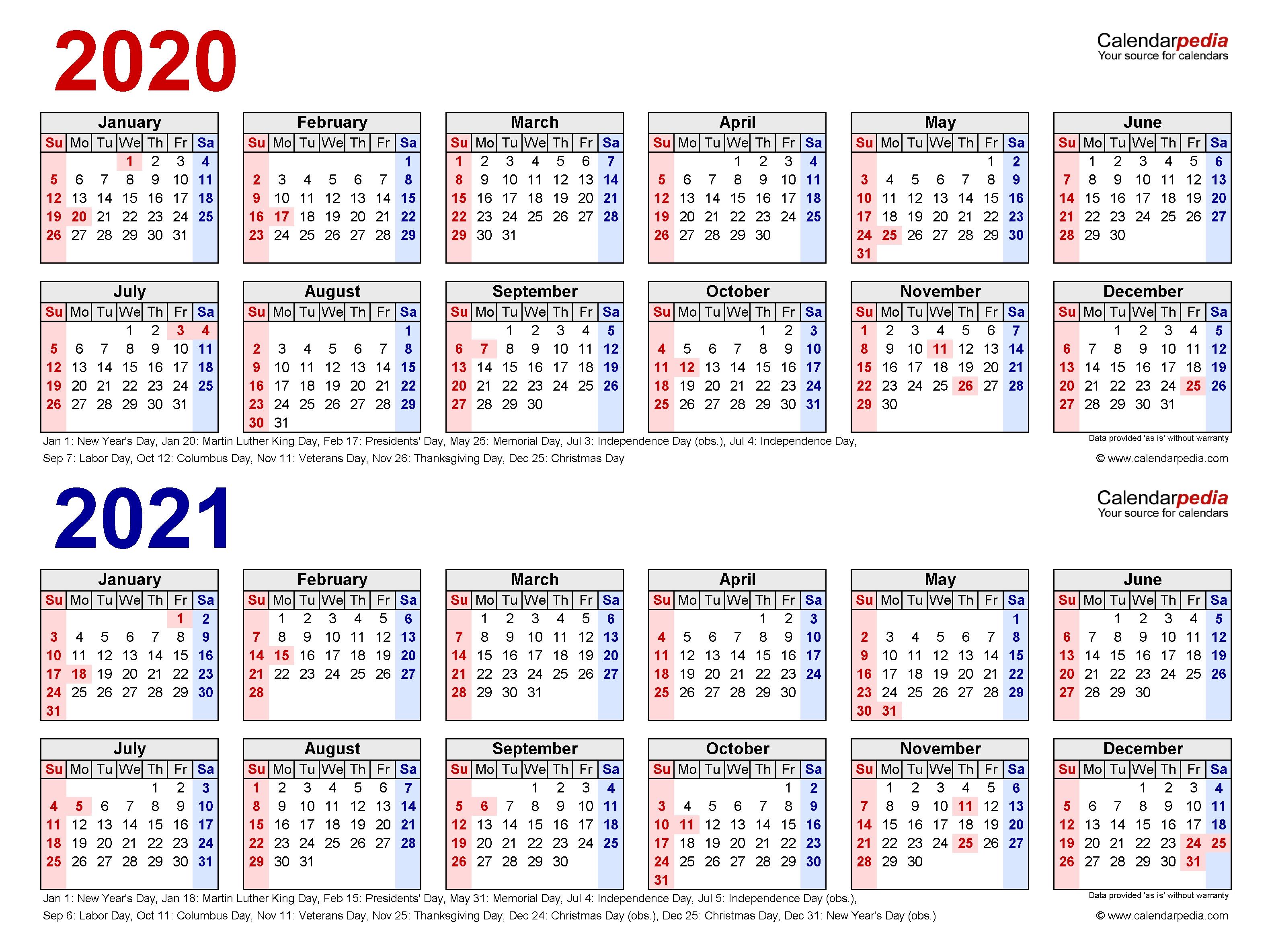 2020-2021 Two Year Calendar - Free Printable Microsoft Word  Printable 12 Month 2020 2021 Calendar