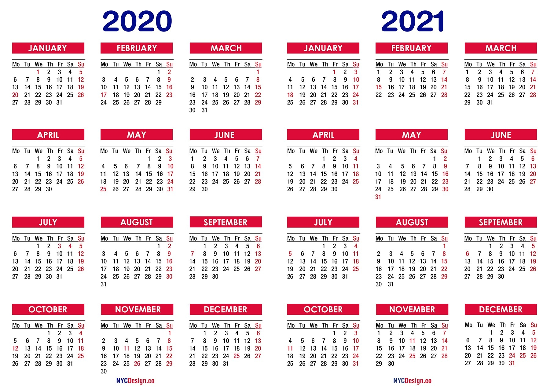 2020 – 2021 Two Year Calendar With Holidays, Printable Free  Free Printable Yearly Calendar 2021 2020