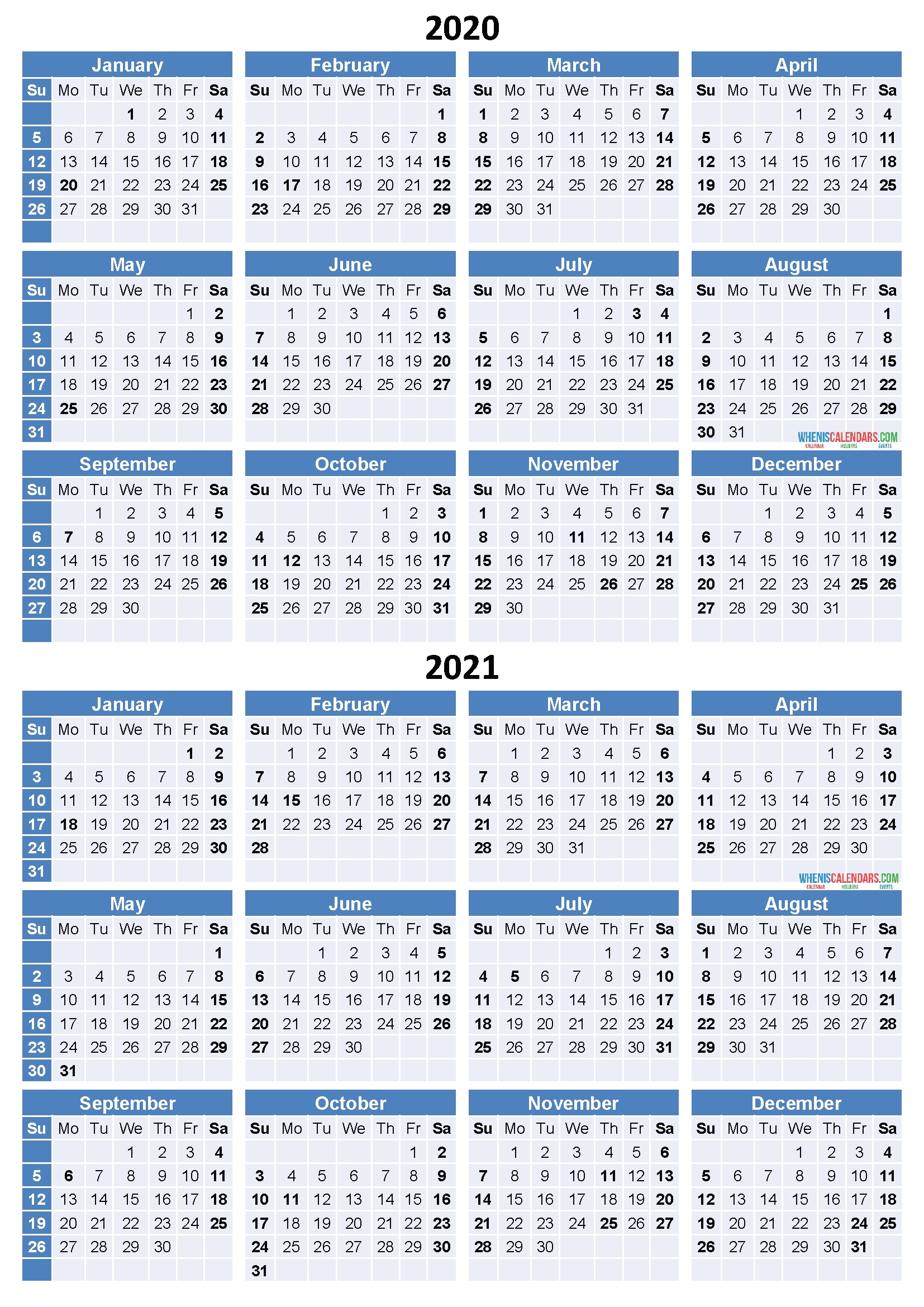 2020 And 2021 Calendar Printable Free Download Word, Pdf  Free Printable Yearly Calendar 2021 2020