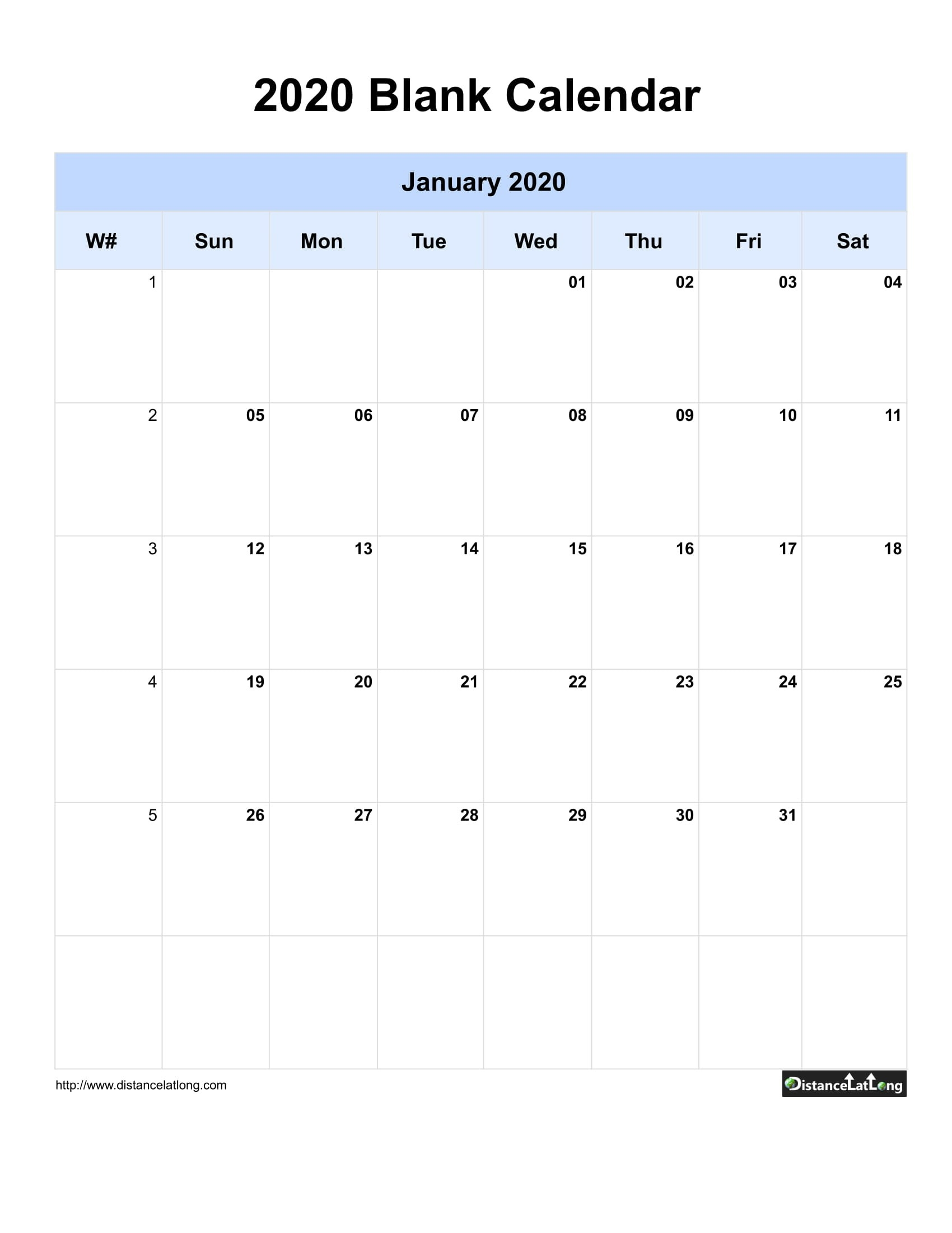 2020 Blank Calendar Blank Portrait Orientation Free  Download 2020 Blank Calendar Printable