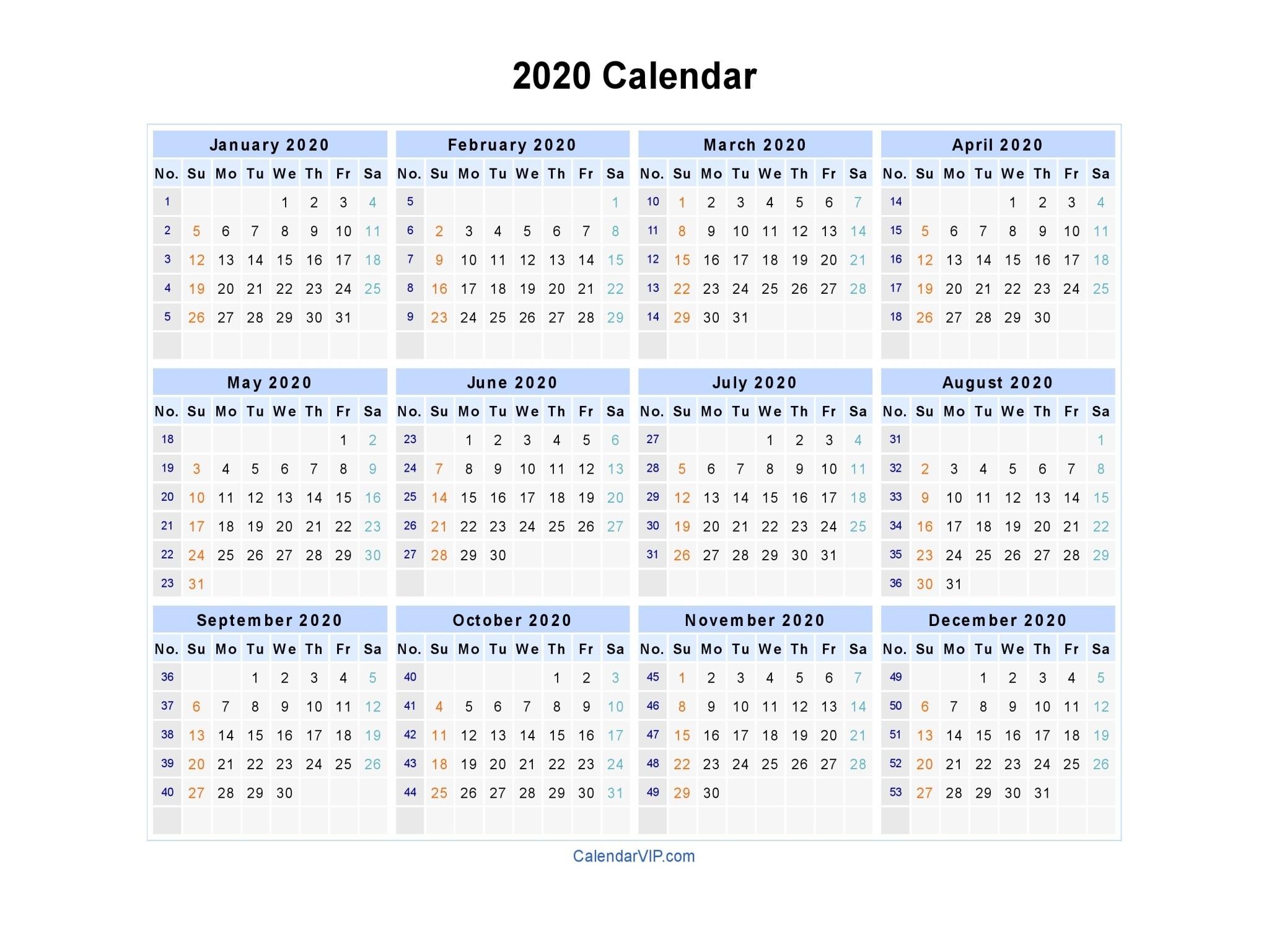 2020 Calendar - Blank Printable Calendar Template In Pdf  A3 Calendar 2020