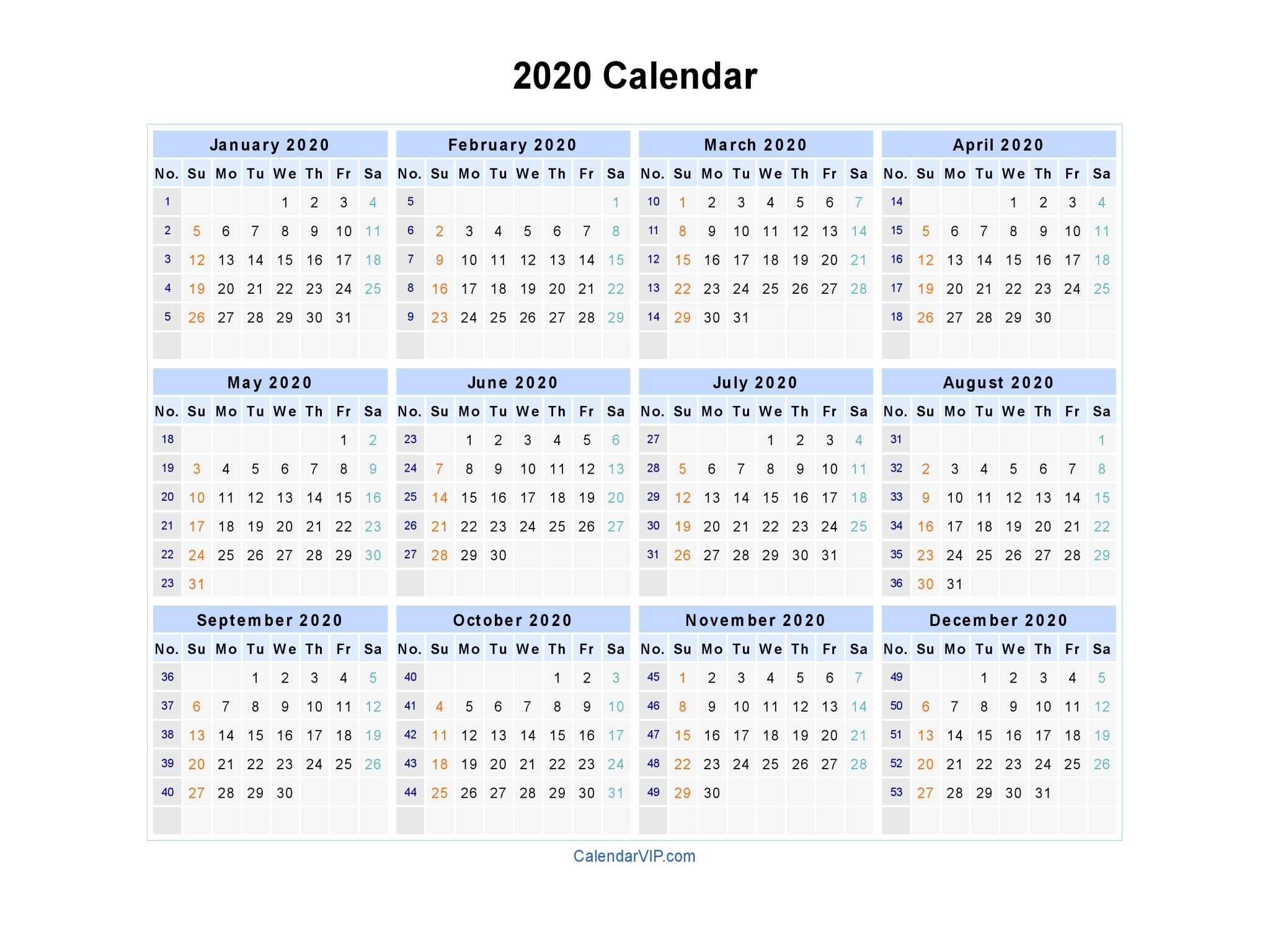 2020 Calendar - Blank Printable Calendar Template In Pdf  A3 Printable Calendar 2020