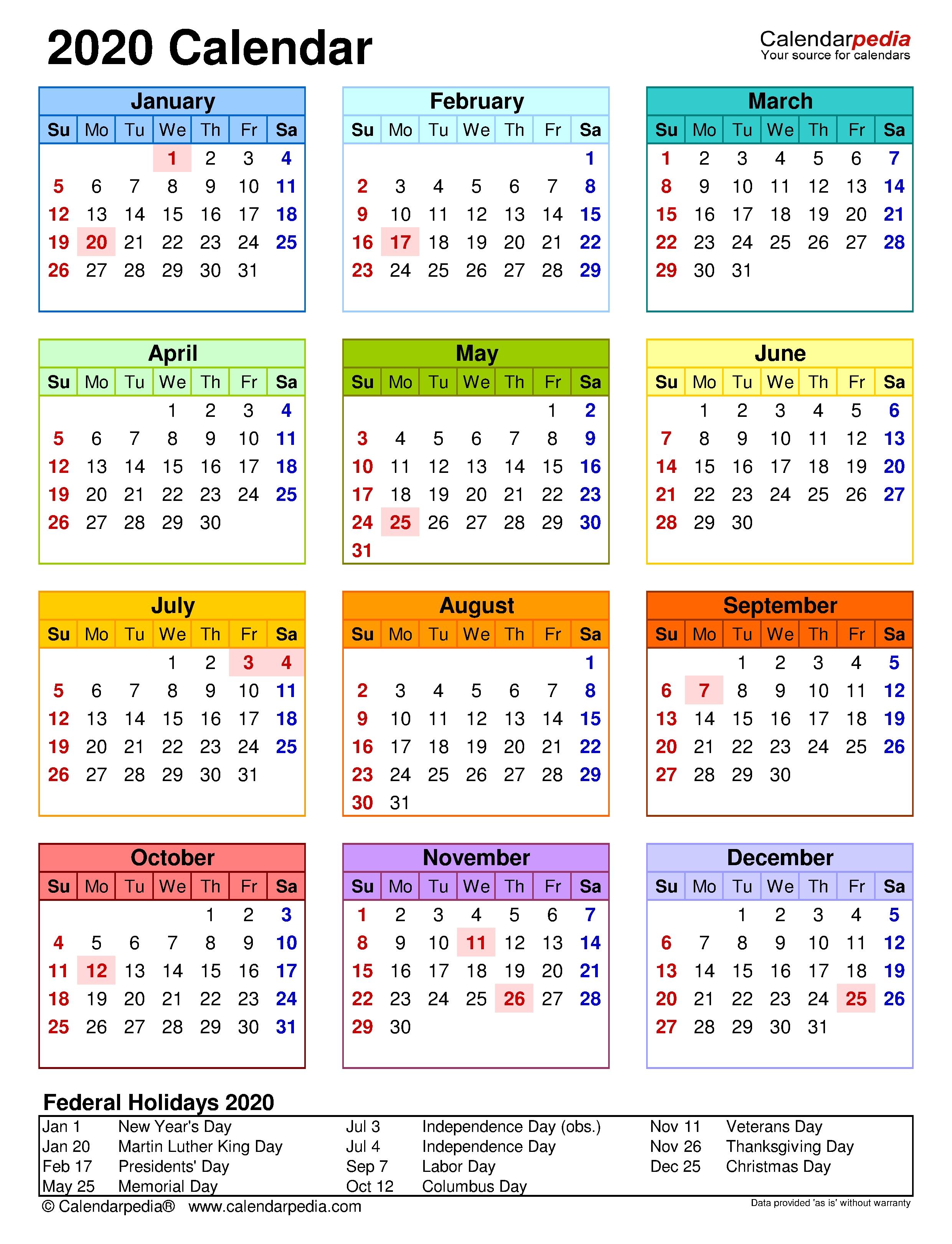 2020 Calendar - Free Printable Microsoft Excel Templates  Large Block April 2020 Calendar