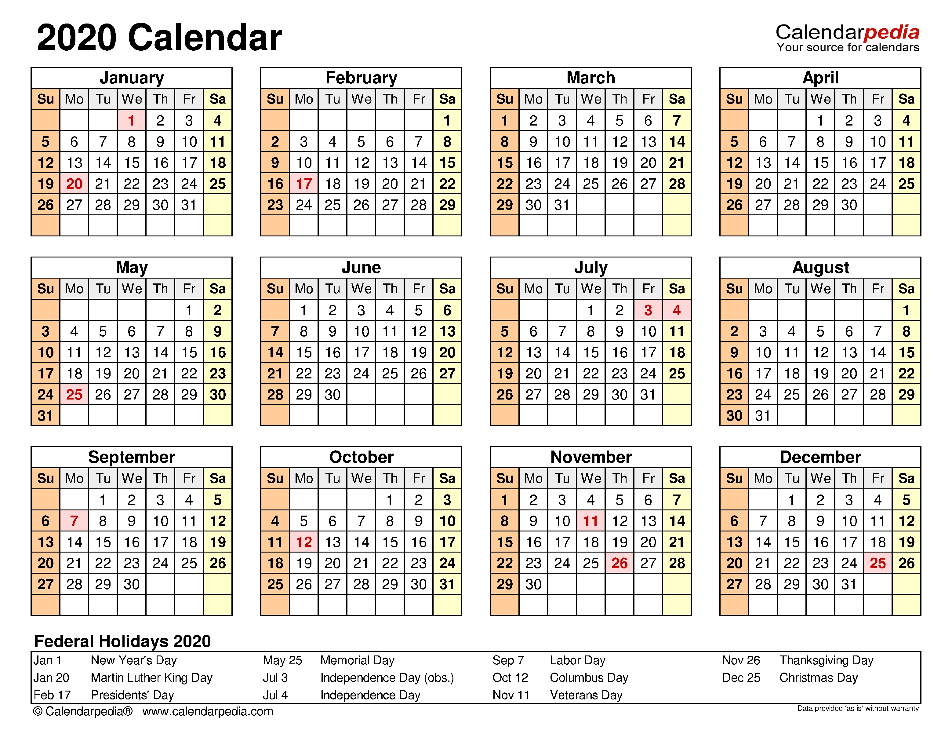 2020 Calendar - Free Printable Microsoft Excel Templates  Yearly Continuous Calendar 2020