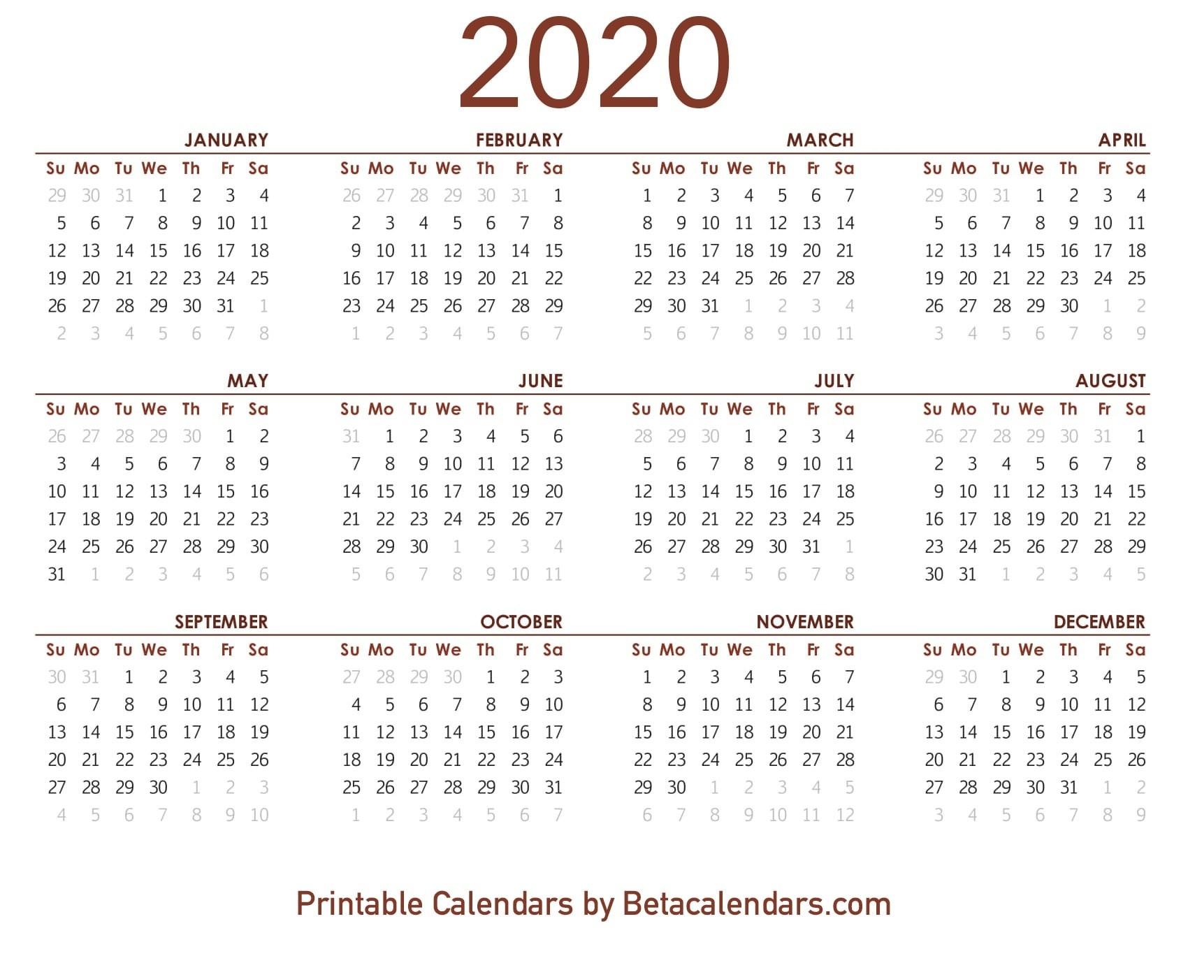 2020 Calendar - Free Printable Yearly Calendar 2020  2020 Calendar Year Printable