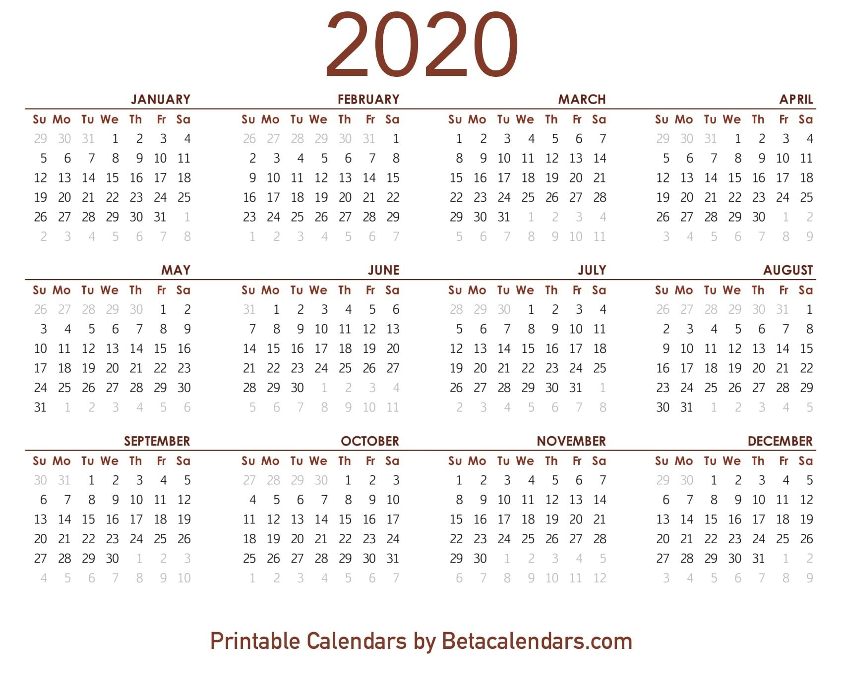2020 Calendar - Free Printable Yearly Calendar 2020  Year 2020 Calendar Printable