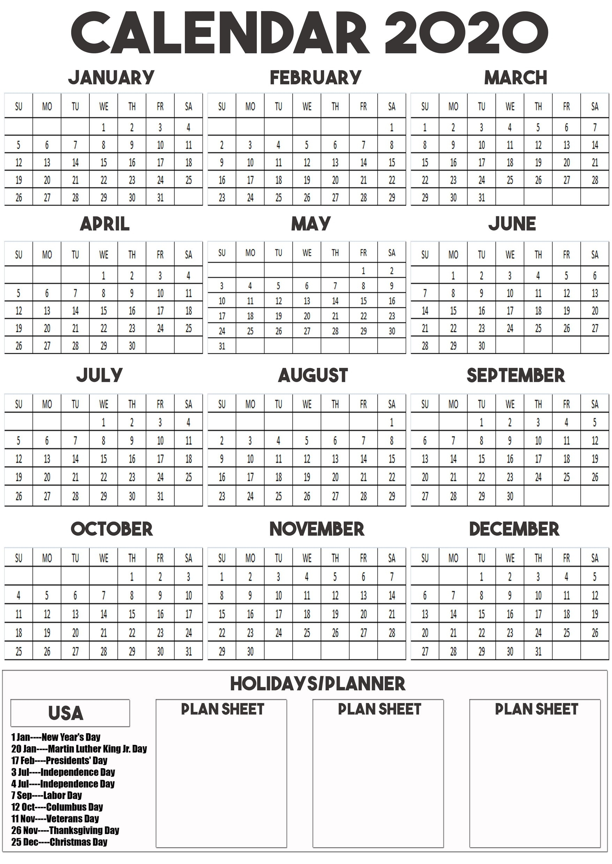 2020 Calendar Printable For A3, A4, A5 Paper Size  A3 Calendar 2020