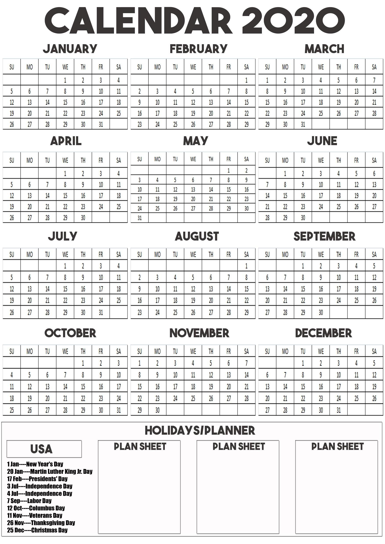 2020 Calendar Printable For A3, A4, A5 Paper Size  A3 Printable Calendar 2020