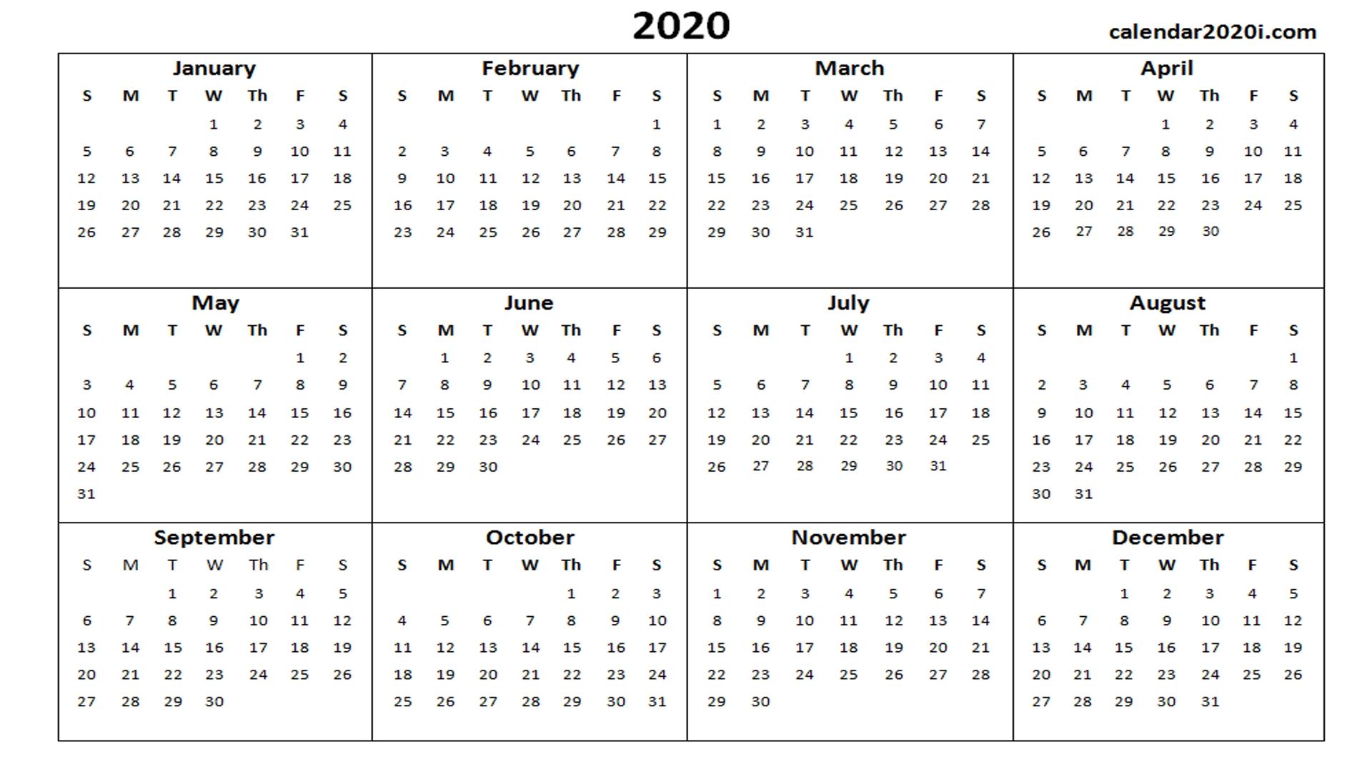 2020 Calendar Printable Template Holidays, Word, Excel, Pdf  2020 Calendar Template