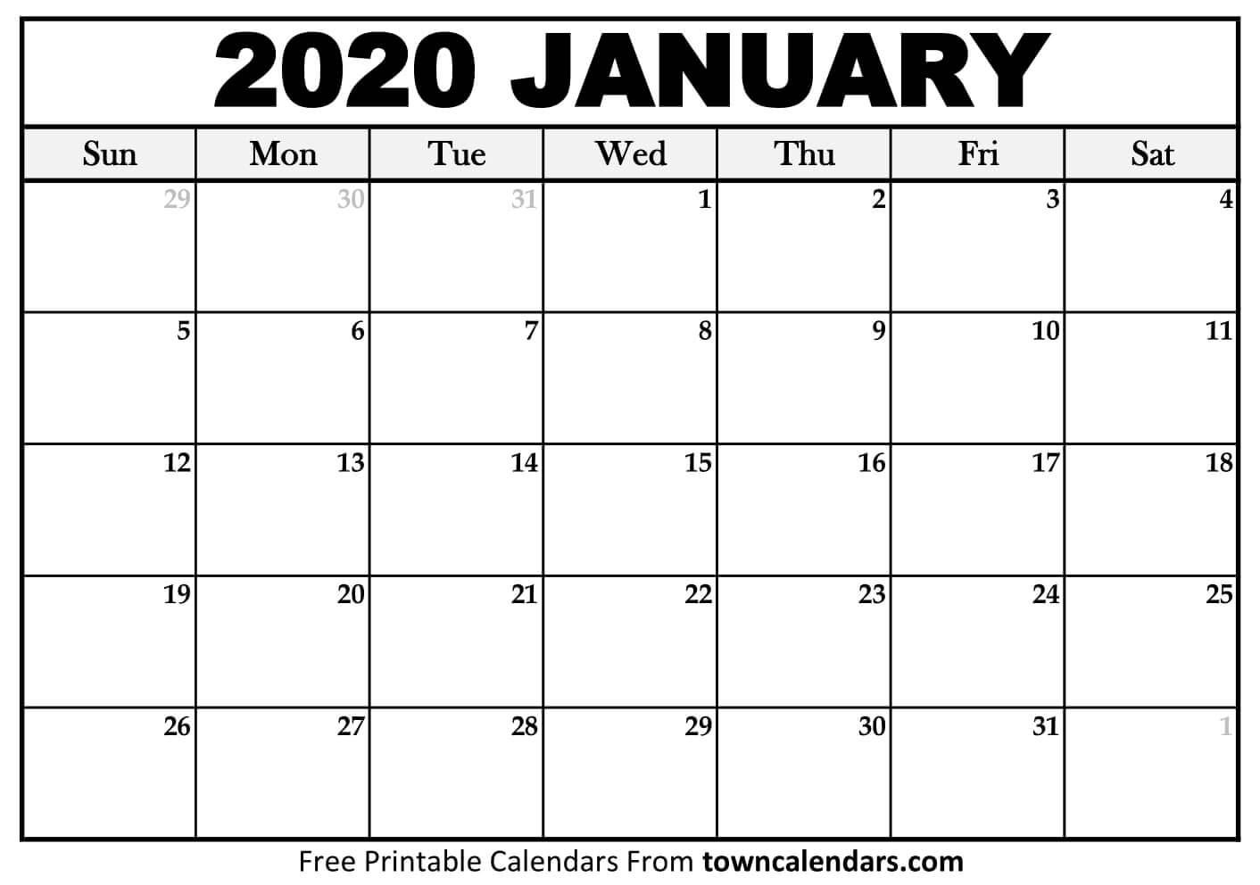2020 Calendar Printable - Towncalendars  2020 Calendar Free Printable