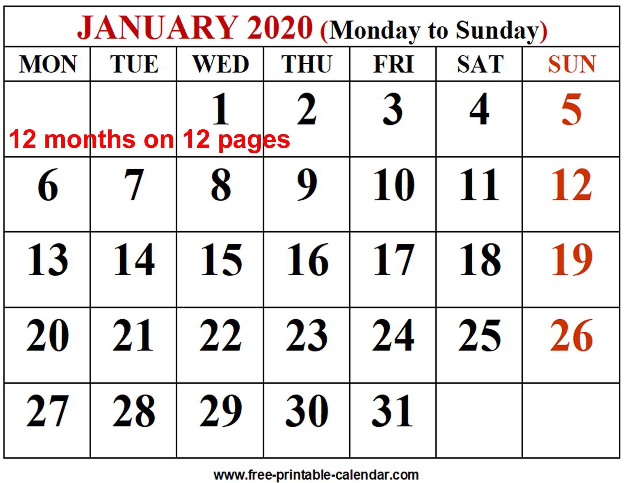 2020 Calendar Template - Free-Printable-Calendar  12 Month Calendar 2020 Printable Free