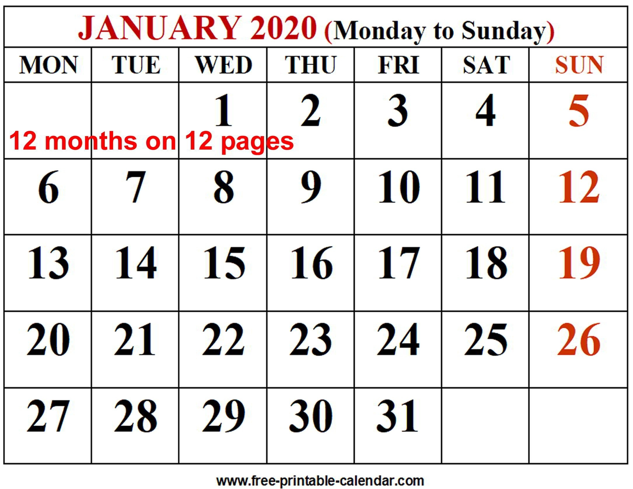 2020 Calendar Template - Free-Printable-Calendar  2020 Free 12 Month Printable Monthly Calendar