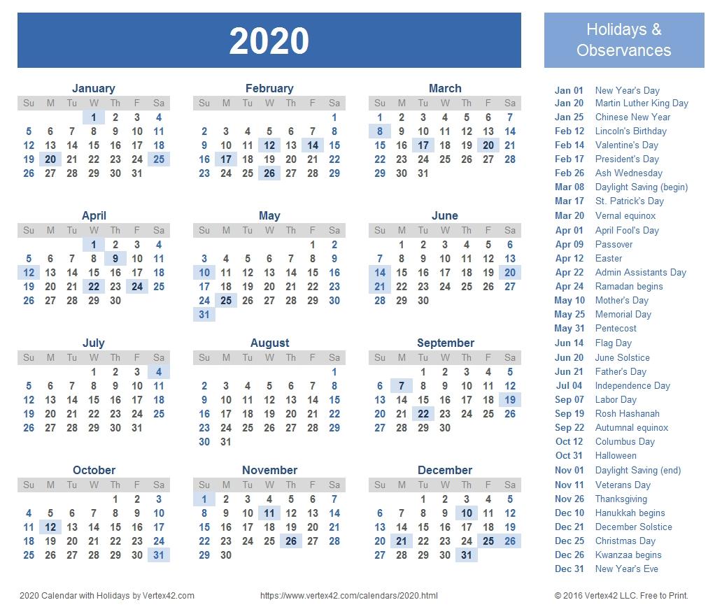 2020 Calendar Templates And Images  2020 Calendar Template