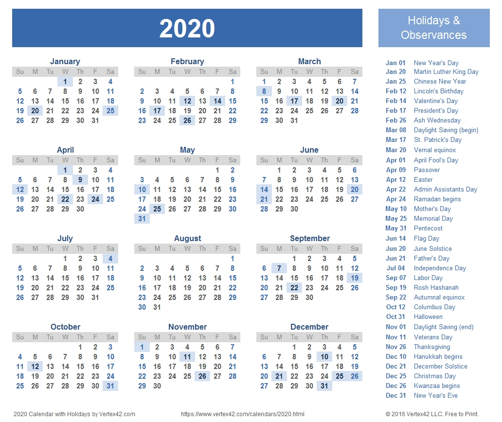 2020 Calendar Templates And Images  2020 Calendar With Holidays Printable One Page