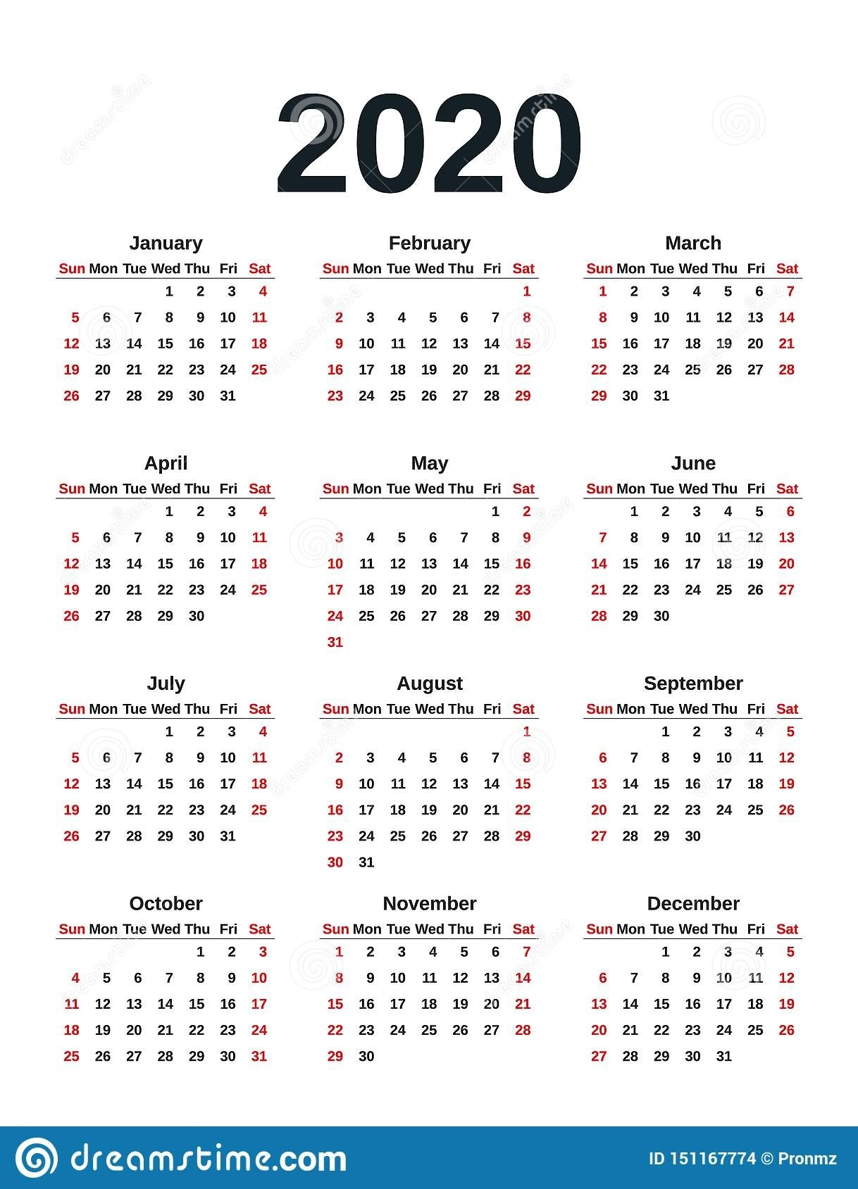 2020 Calendar Year. Vector Illustration. Template Planner  2020 Calendar Simple