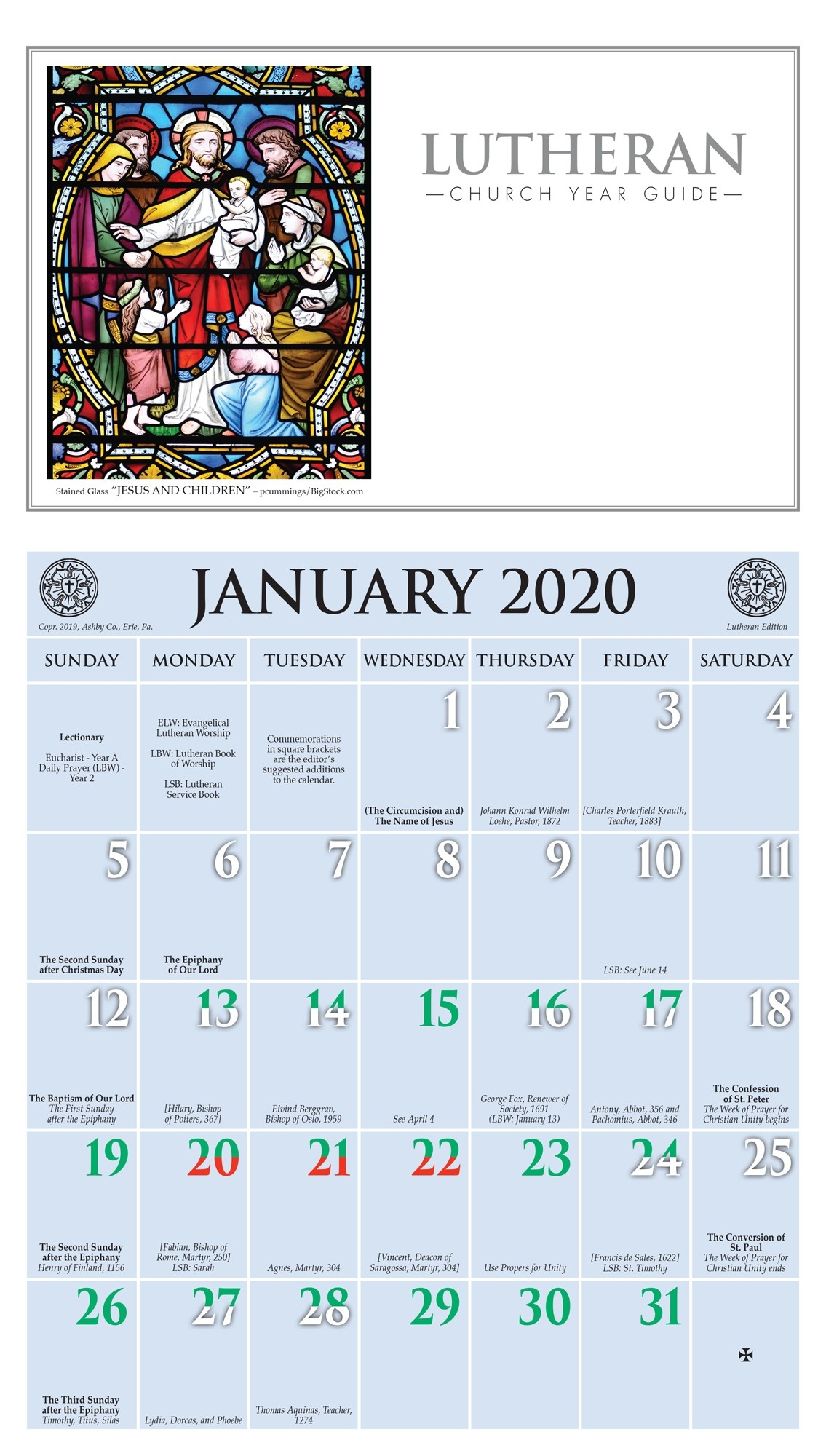 2020 Church Year Calendar  Revised Common Lectionary 2020 Sunday And Special Day Only Year A Calendar