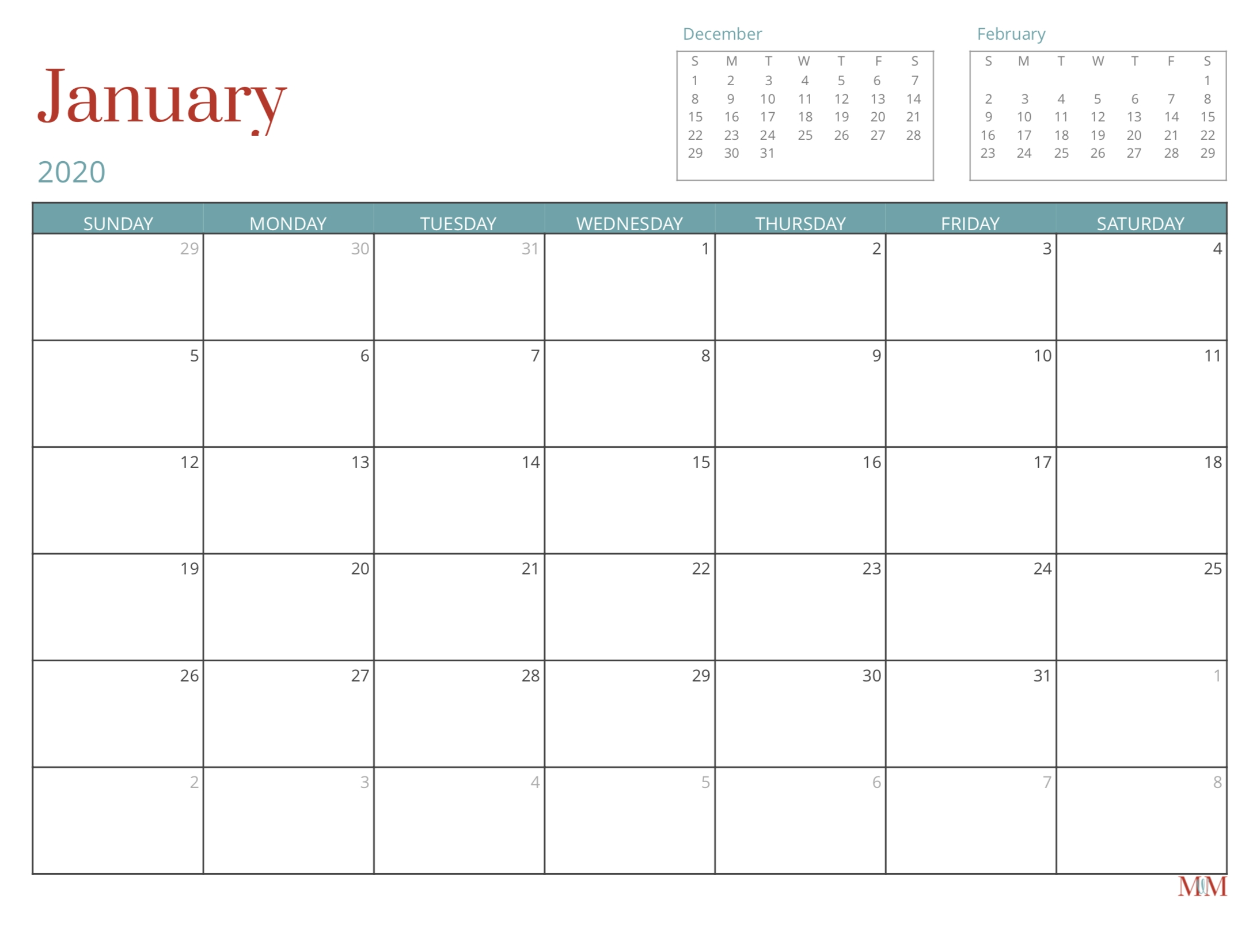 2020 Free Monthly Calendar - Morganize With Me | Morgan  2020 Free 12 Month Printable Monthly Calendar