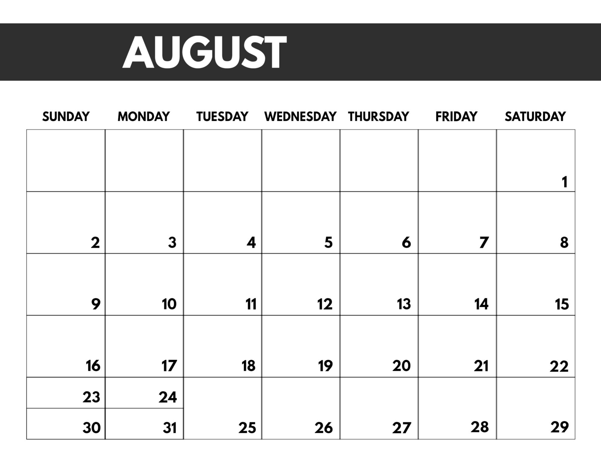 2020 Free Monthly Calendar Template - Paper Trail Design  Free Printable Monthly Calendar Template