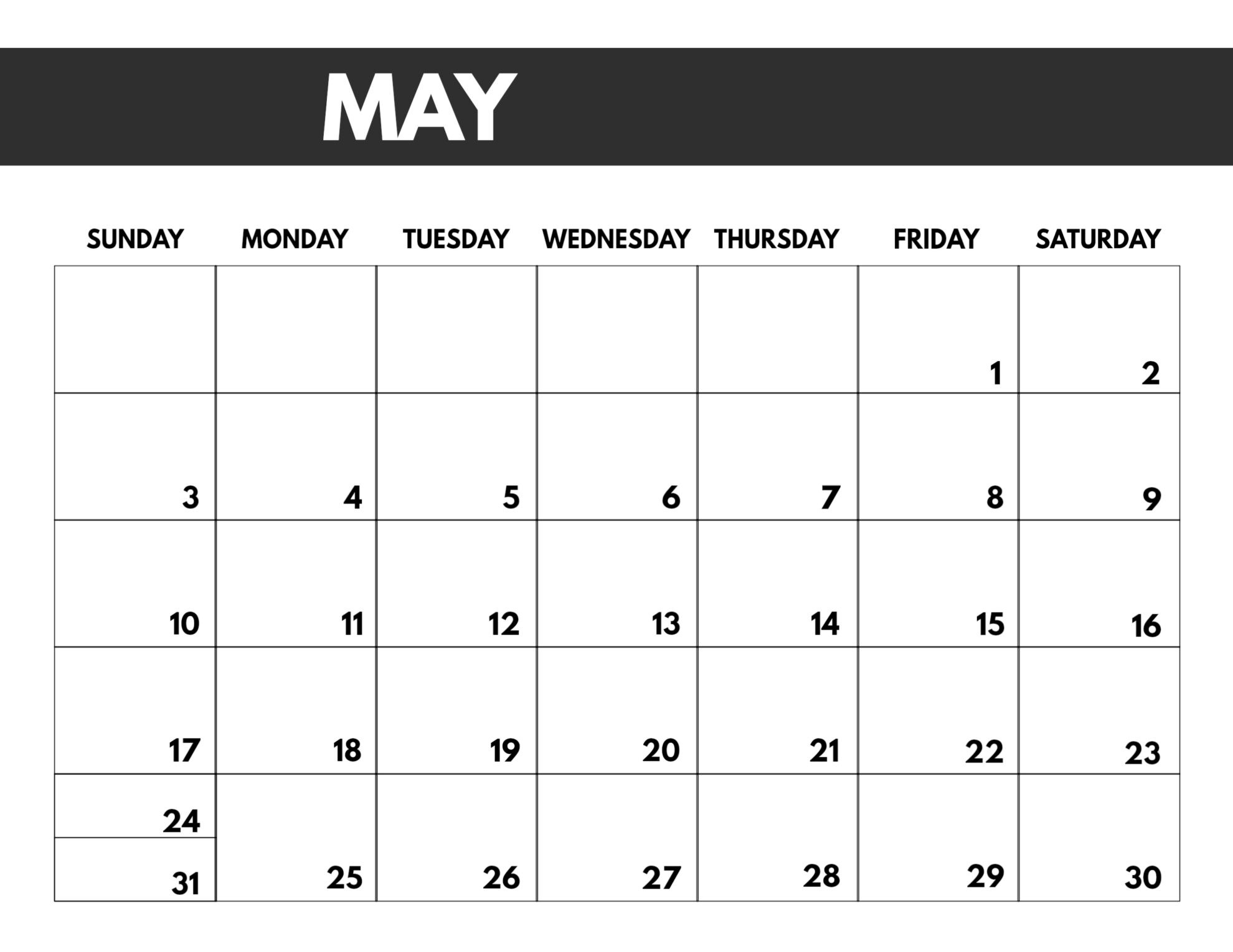 2020 Free Monthly Calendar Template - Paper Trail Design  Large Block April 2020 Calendar