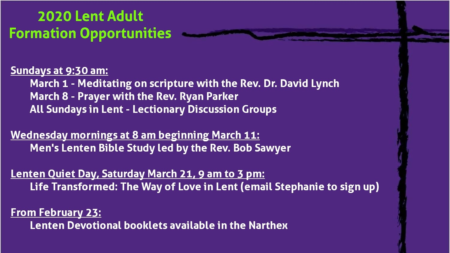 2020 Lent Adult Formation Opportunities - Church Of The Nativity  Lectionary For Lent 2020